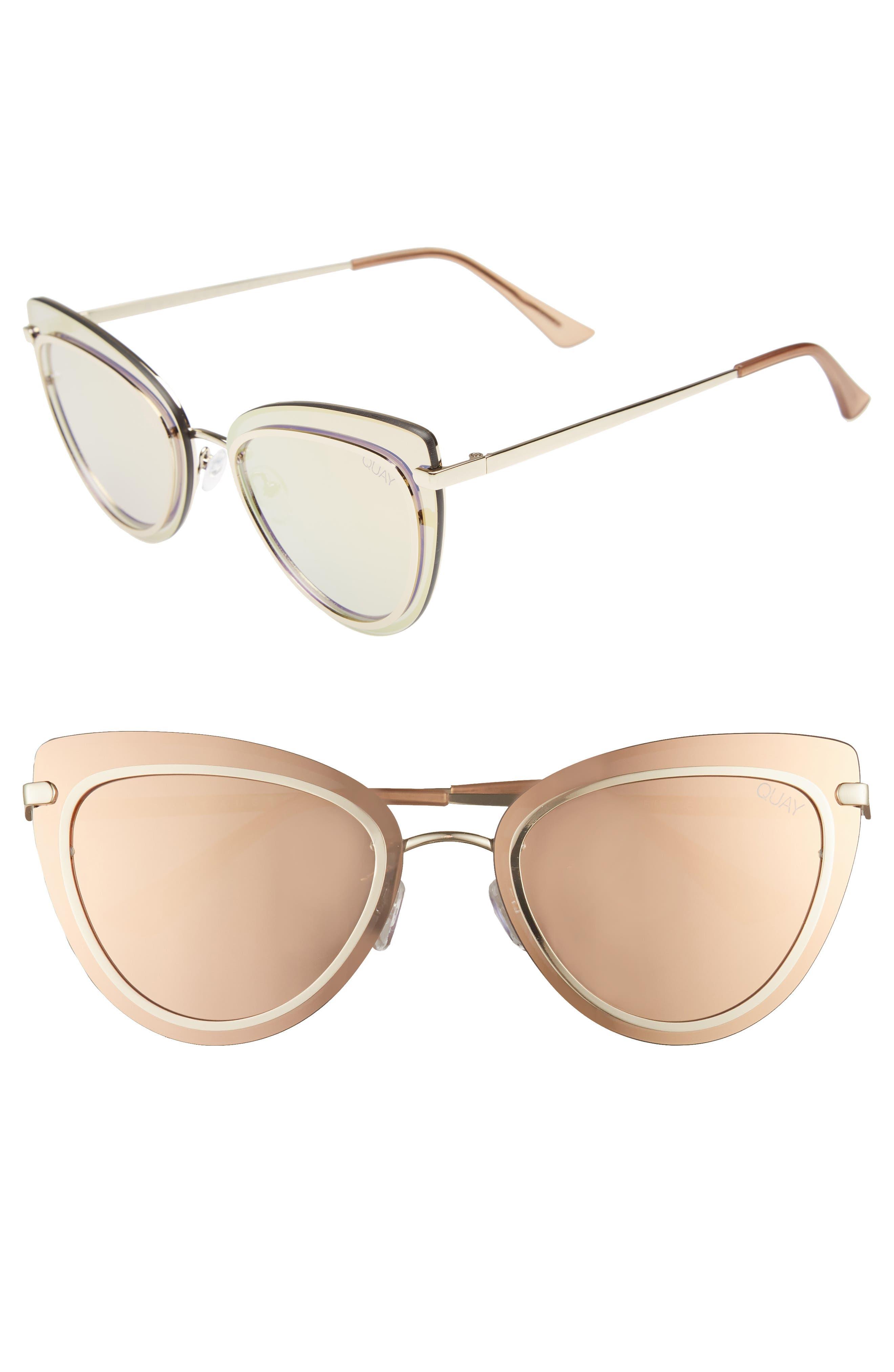 Primrose 55mm Cat Eye Sunglasses,                         Main,                         color, GOLD/ ROSE