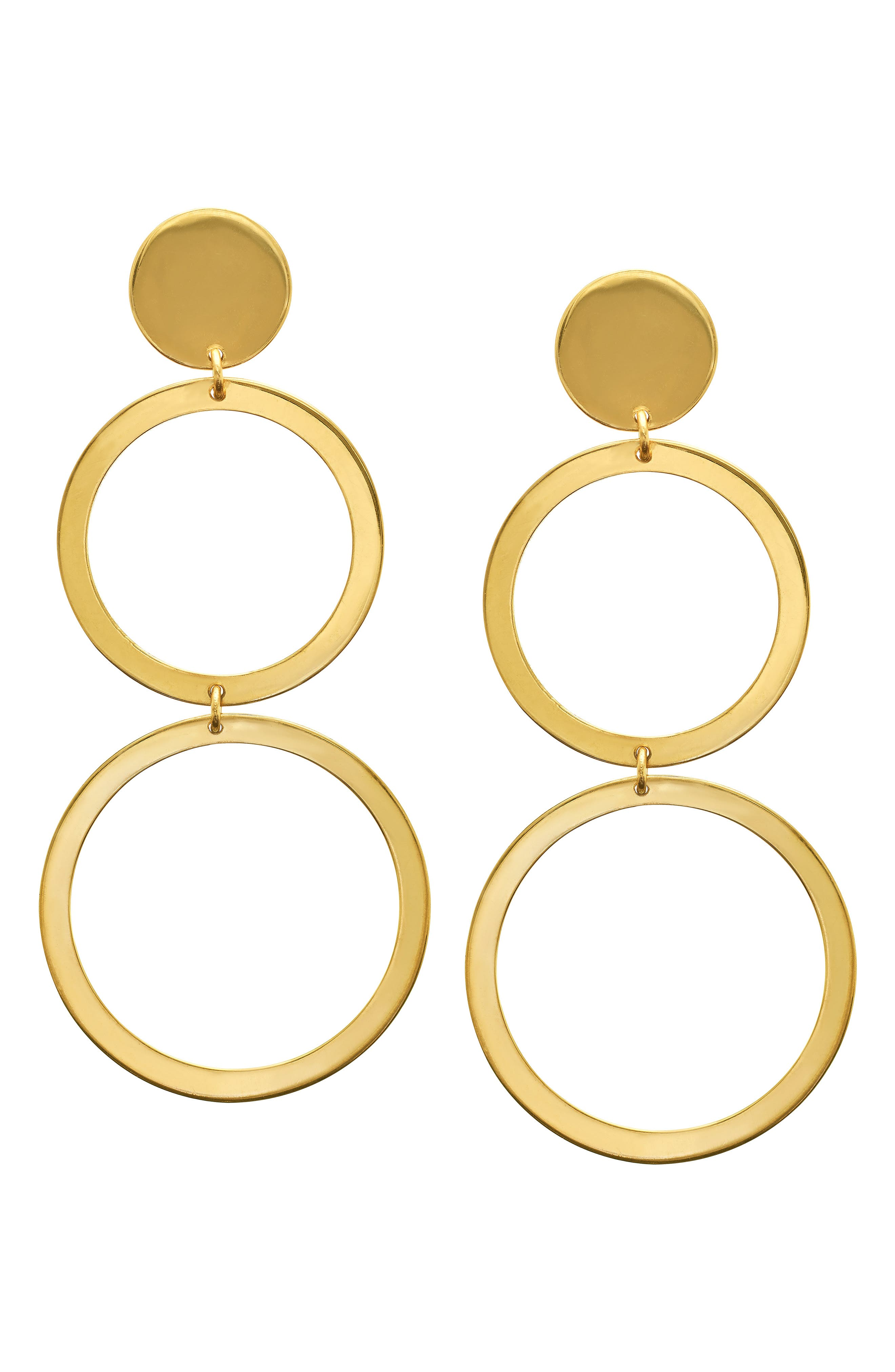 Double Drop Earrings,                         Main,                         color, YELLOW GOLD