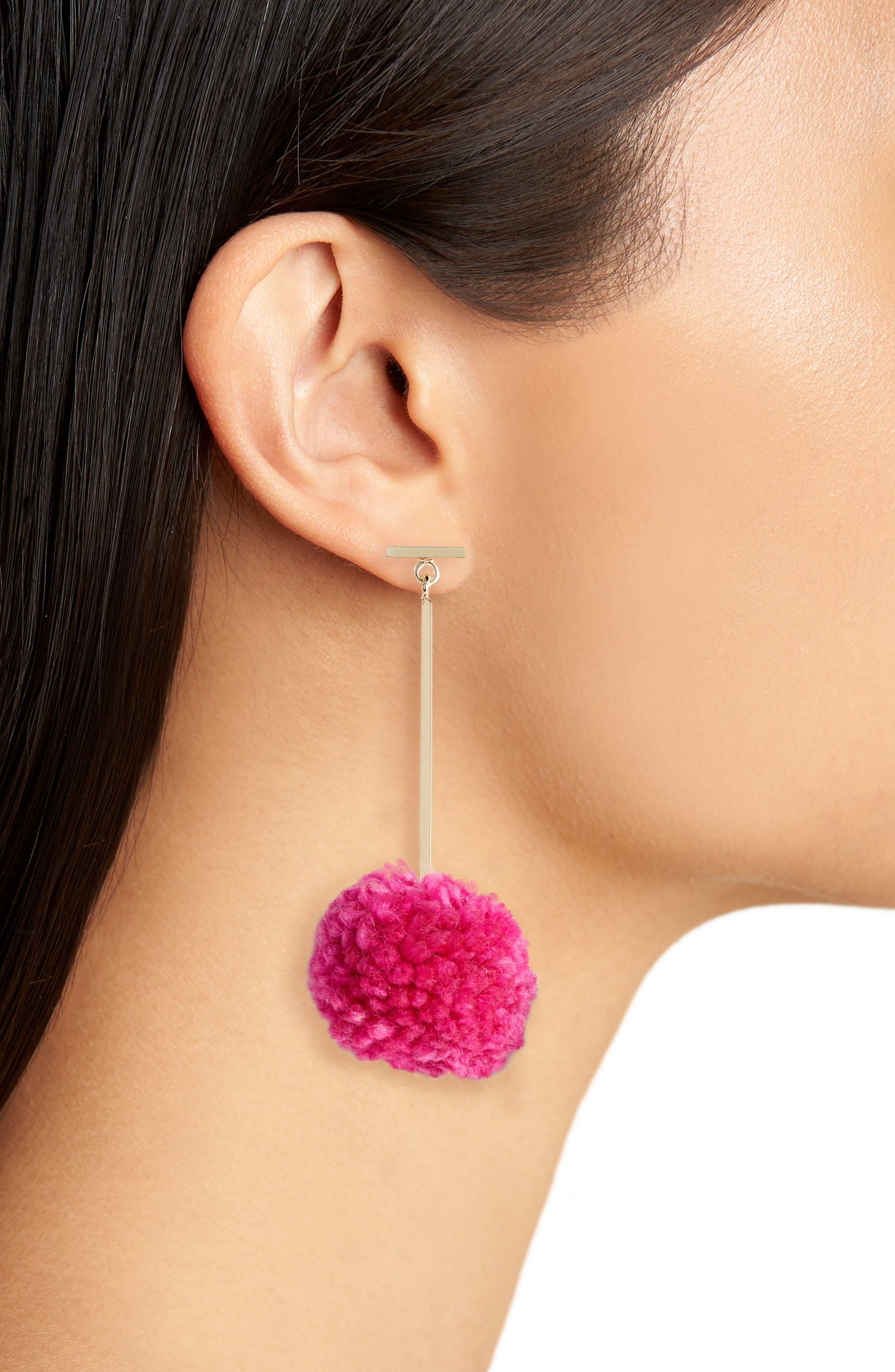 Pompom Drop Earrings,                             Alternate thumbnail 3, color,