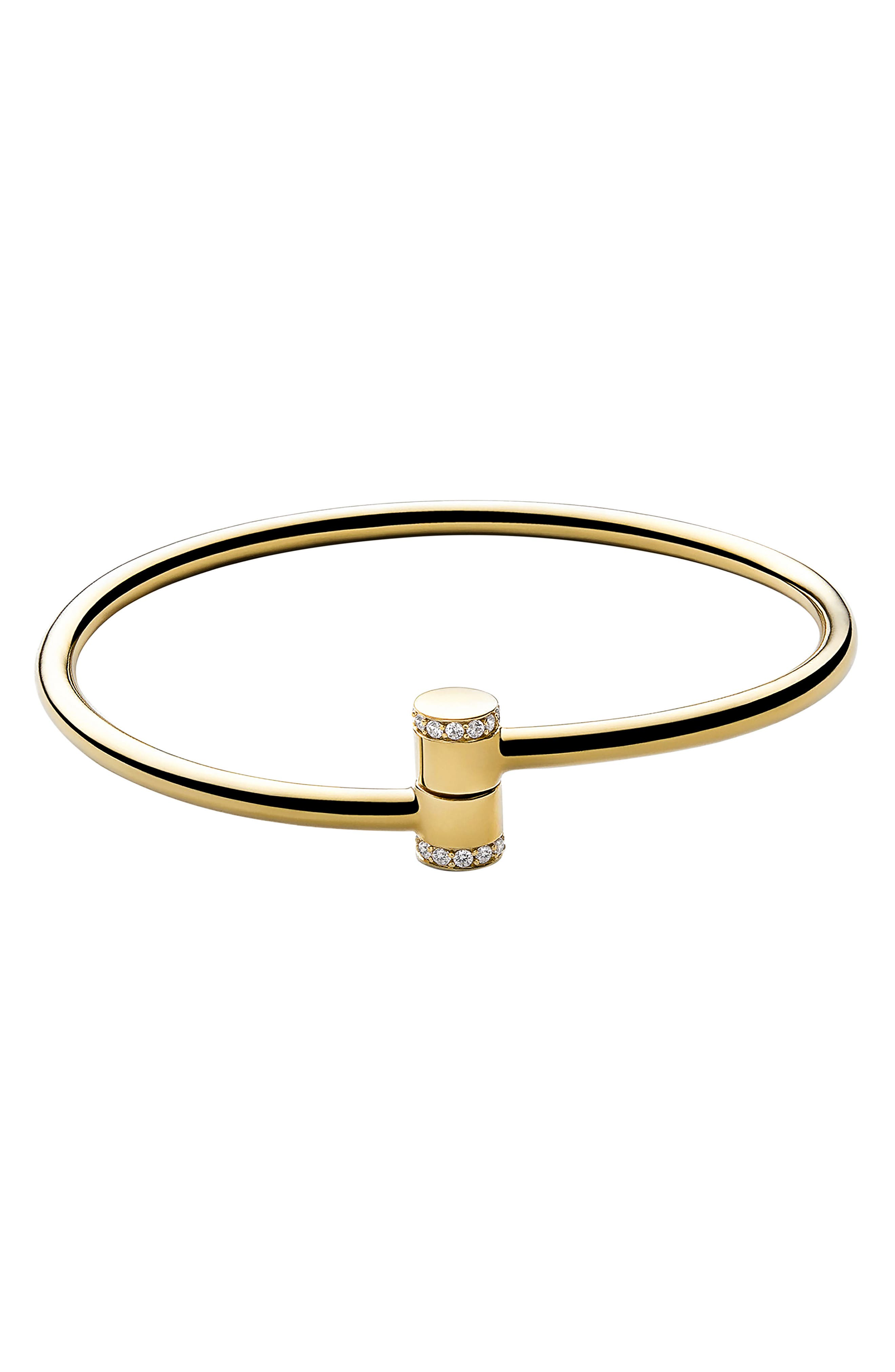 White Sapphire Pillar Cuff Bracelet,                             Main thumbnail 1, color,                             POLISHED GOLD/ WHITE SAPPHIRE