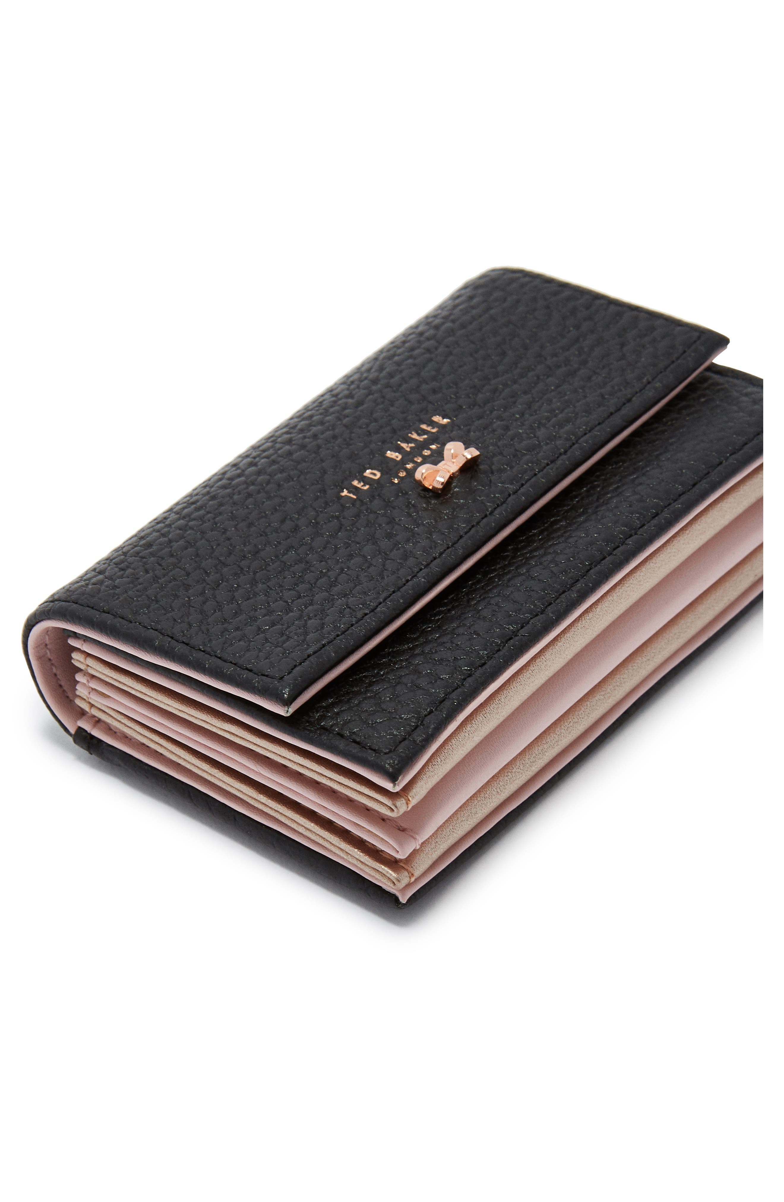 Eves Accordion Leather Card Case,                             Alternate thumbnail 4, color,                             BLACK