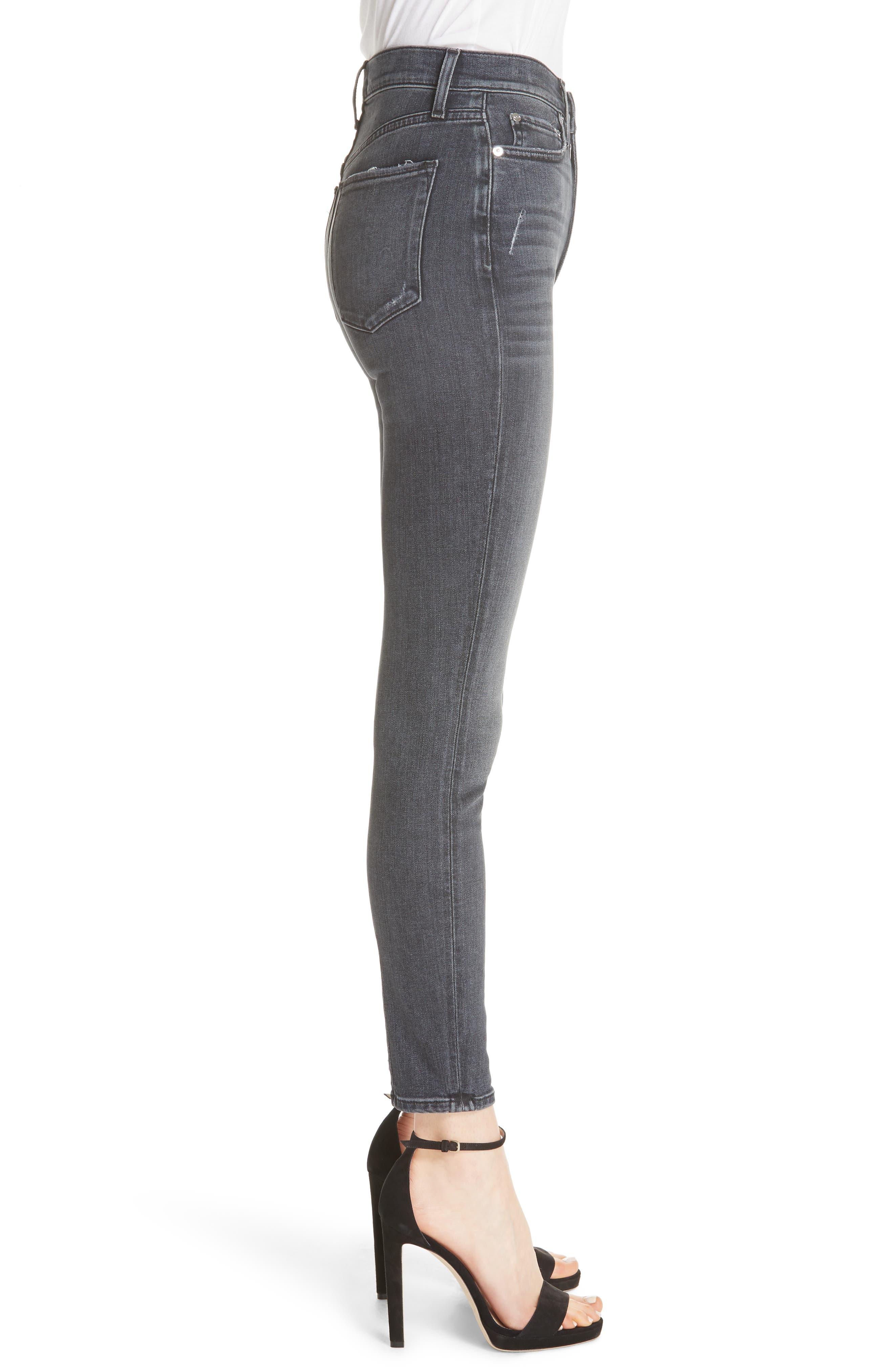 Good High Waist Ankle Skinny Jeans,                             Alternate thumbnail 3, color,                             BLACK MAGIC