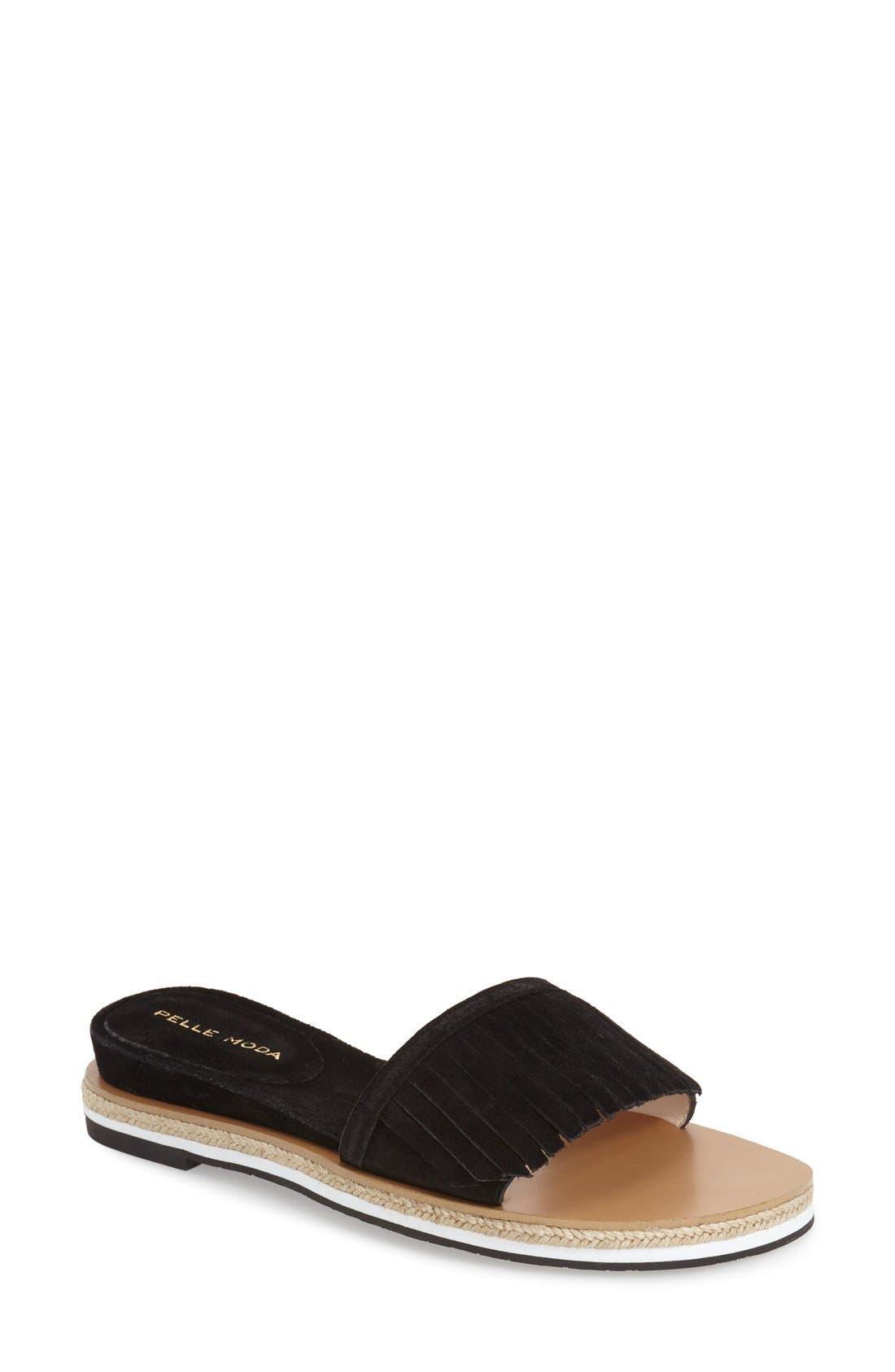 'Jade' Fringe Slide Sandal,                         Main,                         color, 001