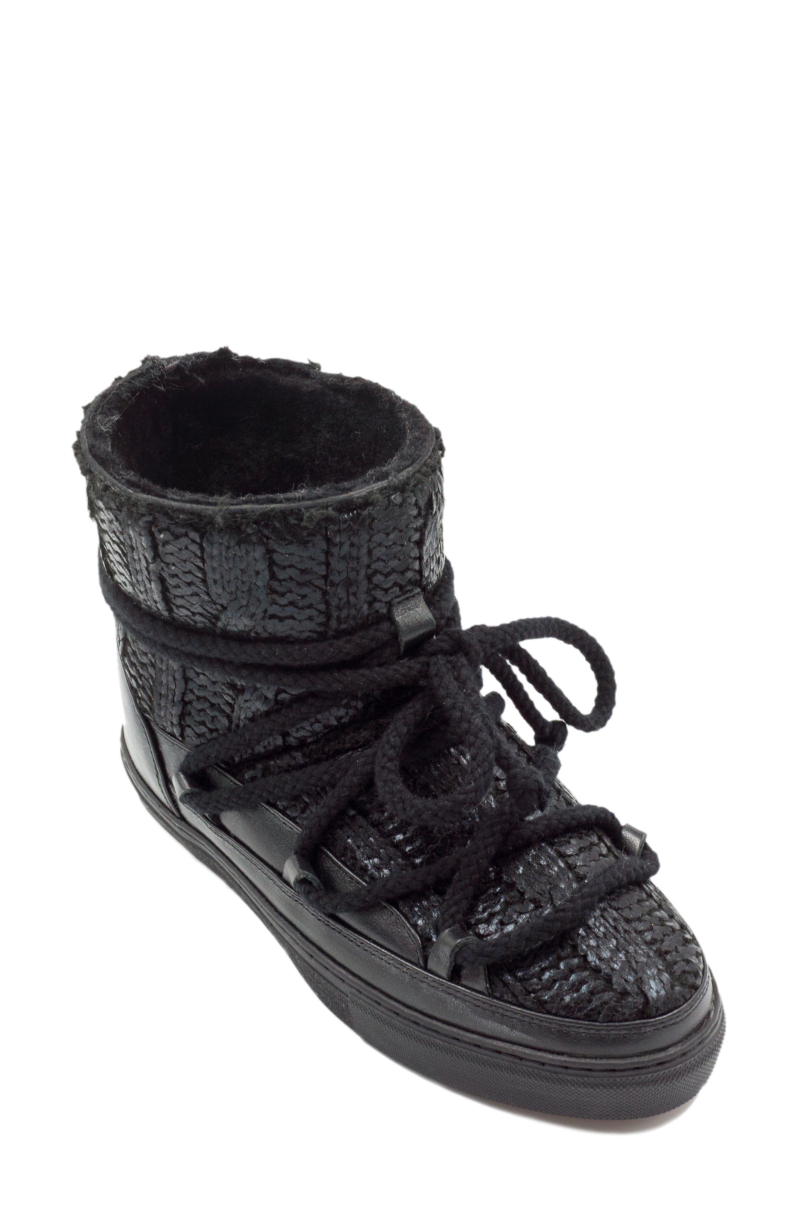 Inuikii Galway Genuine Sheepskin Sneaker Boot Black