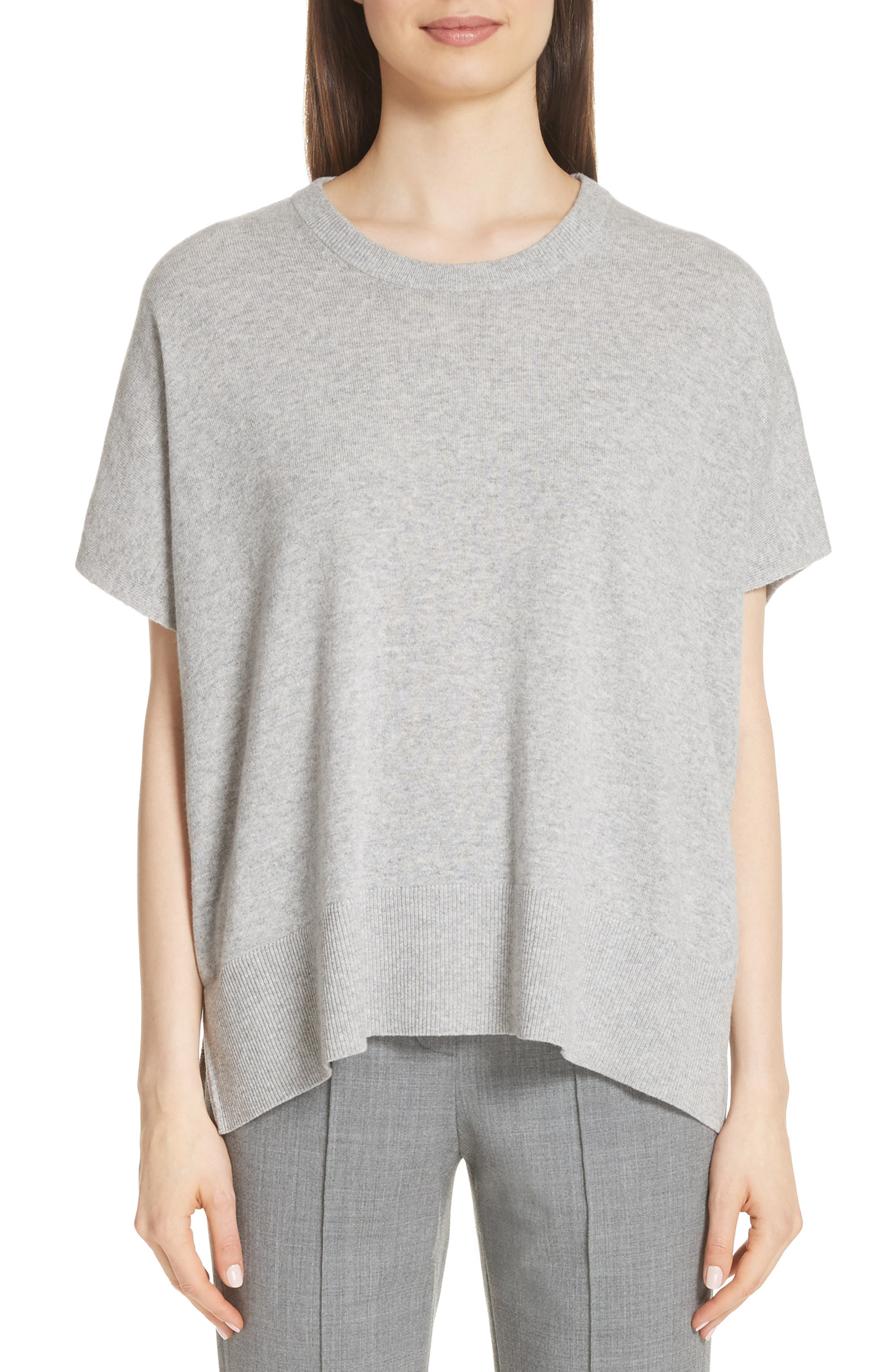 Cashmere Draped Pullover,                         Main,                         color, PEARL GREY MELANGE