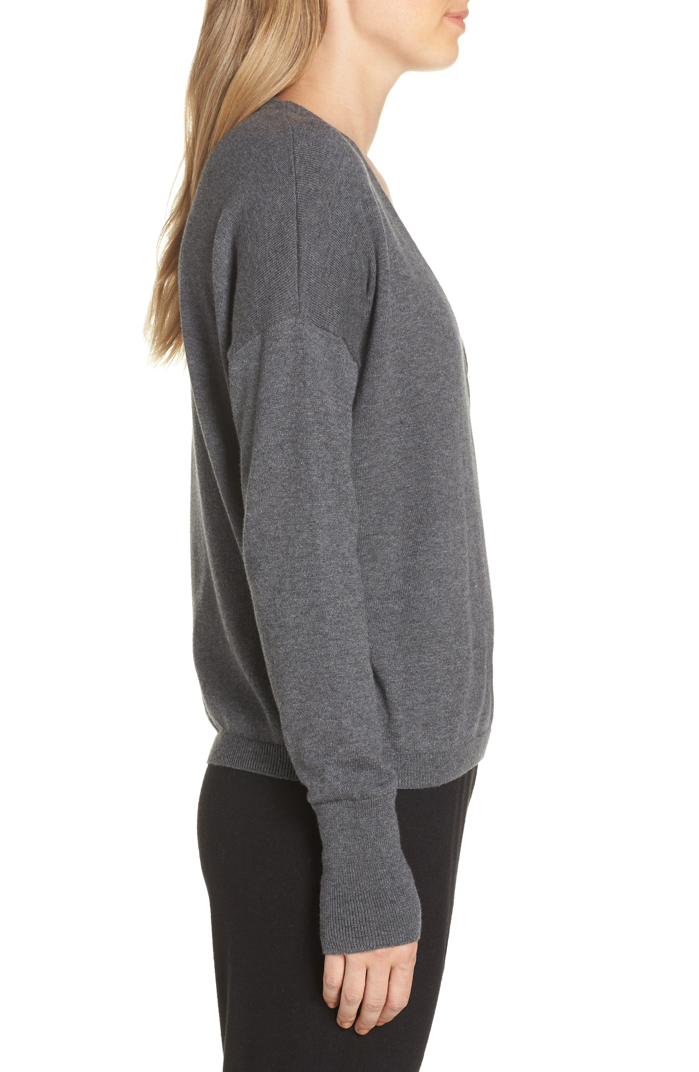 Surplice Front Sweater,                             Alternate thumbnail 3, color,                             DARK STEEL HEATHER