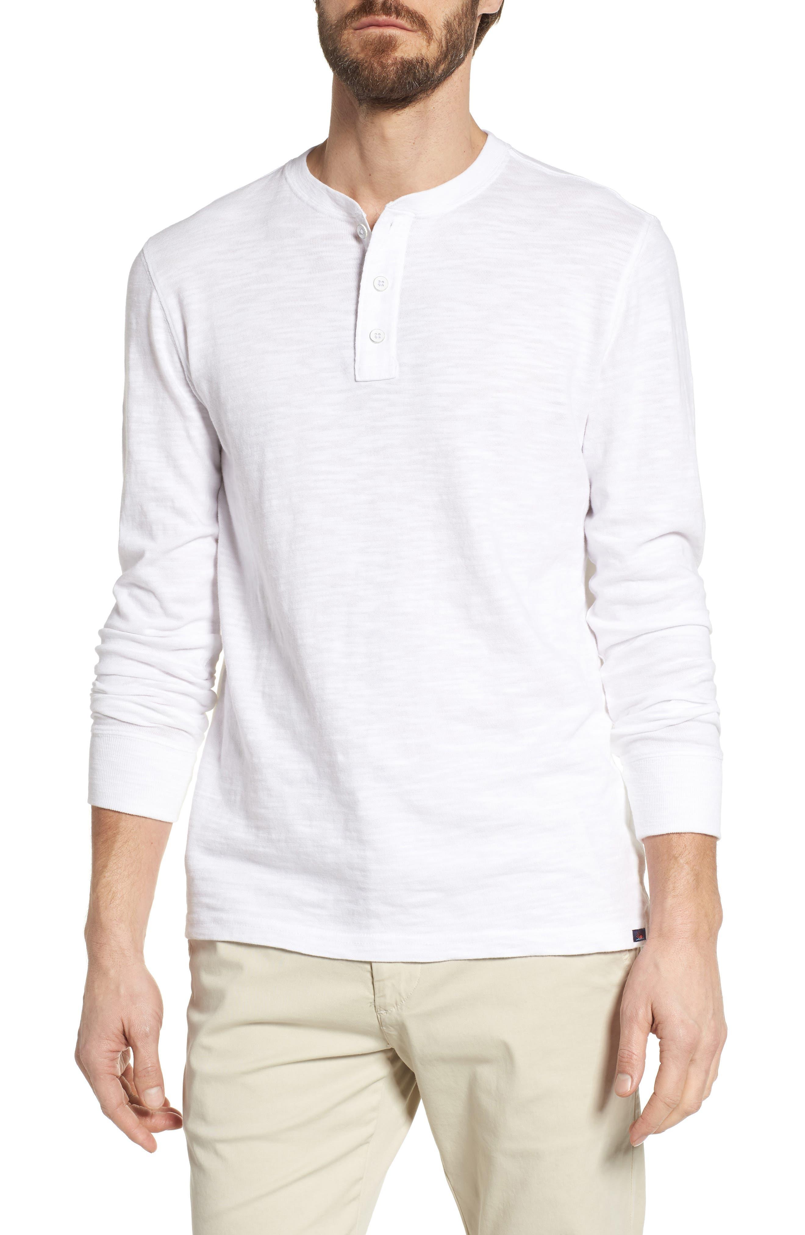 Slub Cotton Henley,                         Main,                         color, WHITE