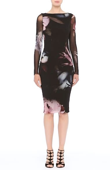 Slash Cutout Floral Print Tulle Dress, video thumbnail