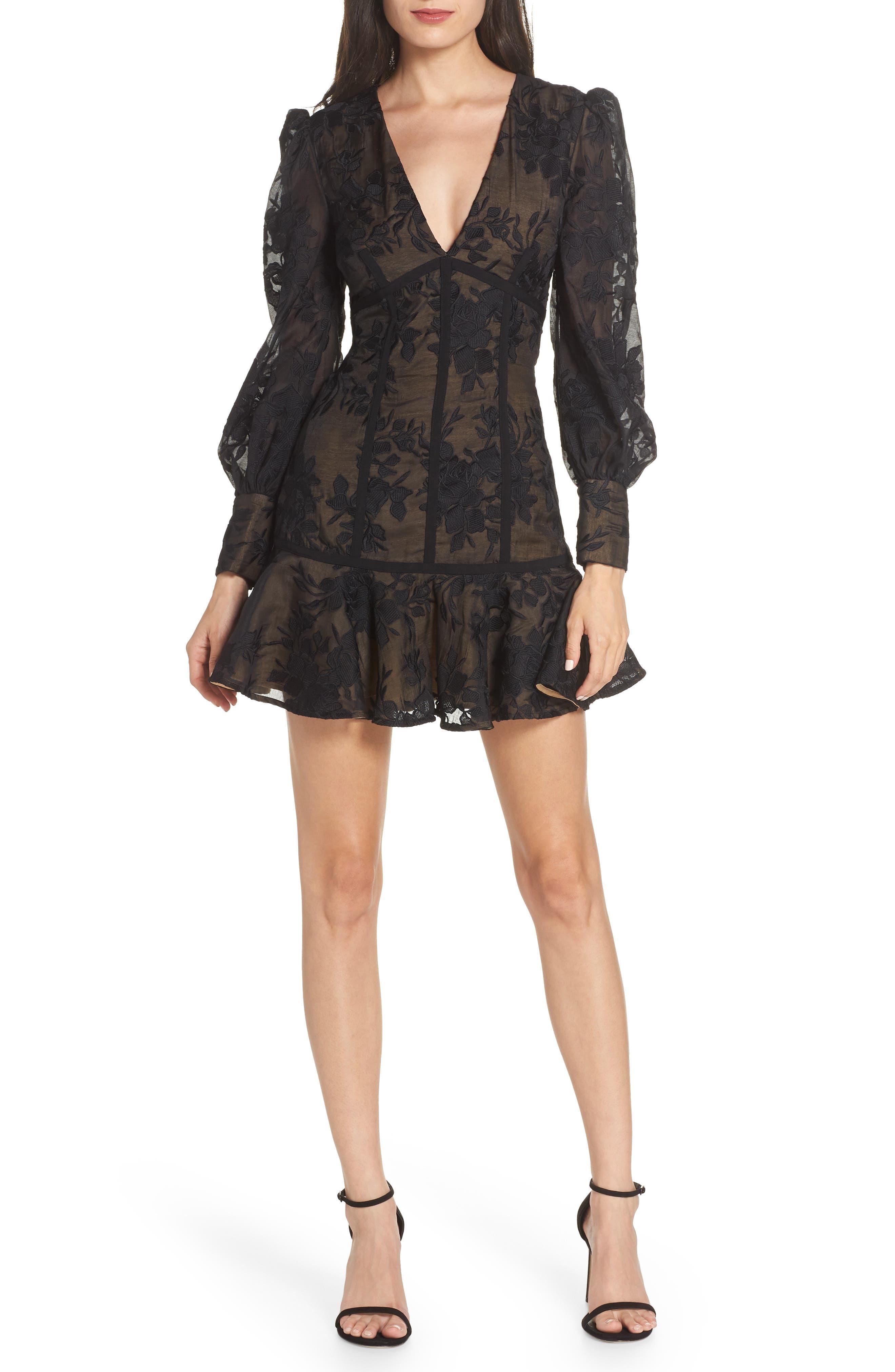 Keepsake The Label Wonderland Cocktail Minidress, Black