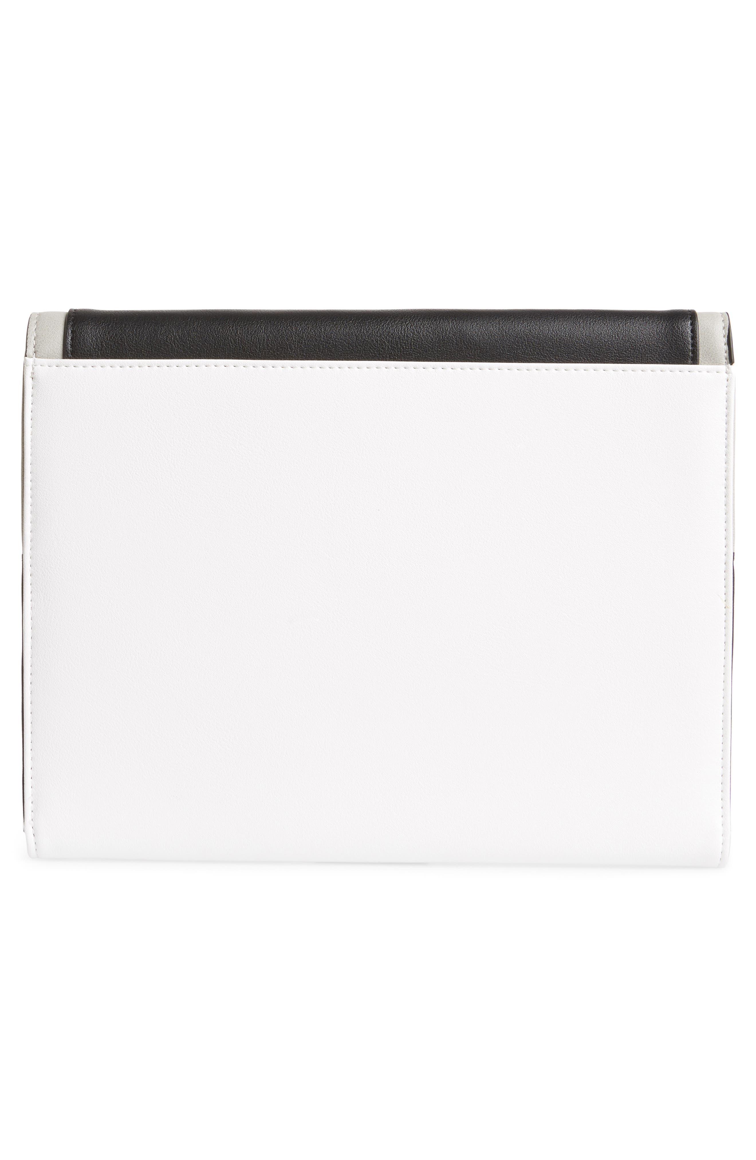 Colorblock Faux Leather Envelope Clutch,                             Alternate thumbnail 3, color,                             YELLOW MULTI