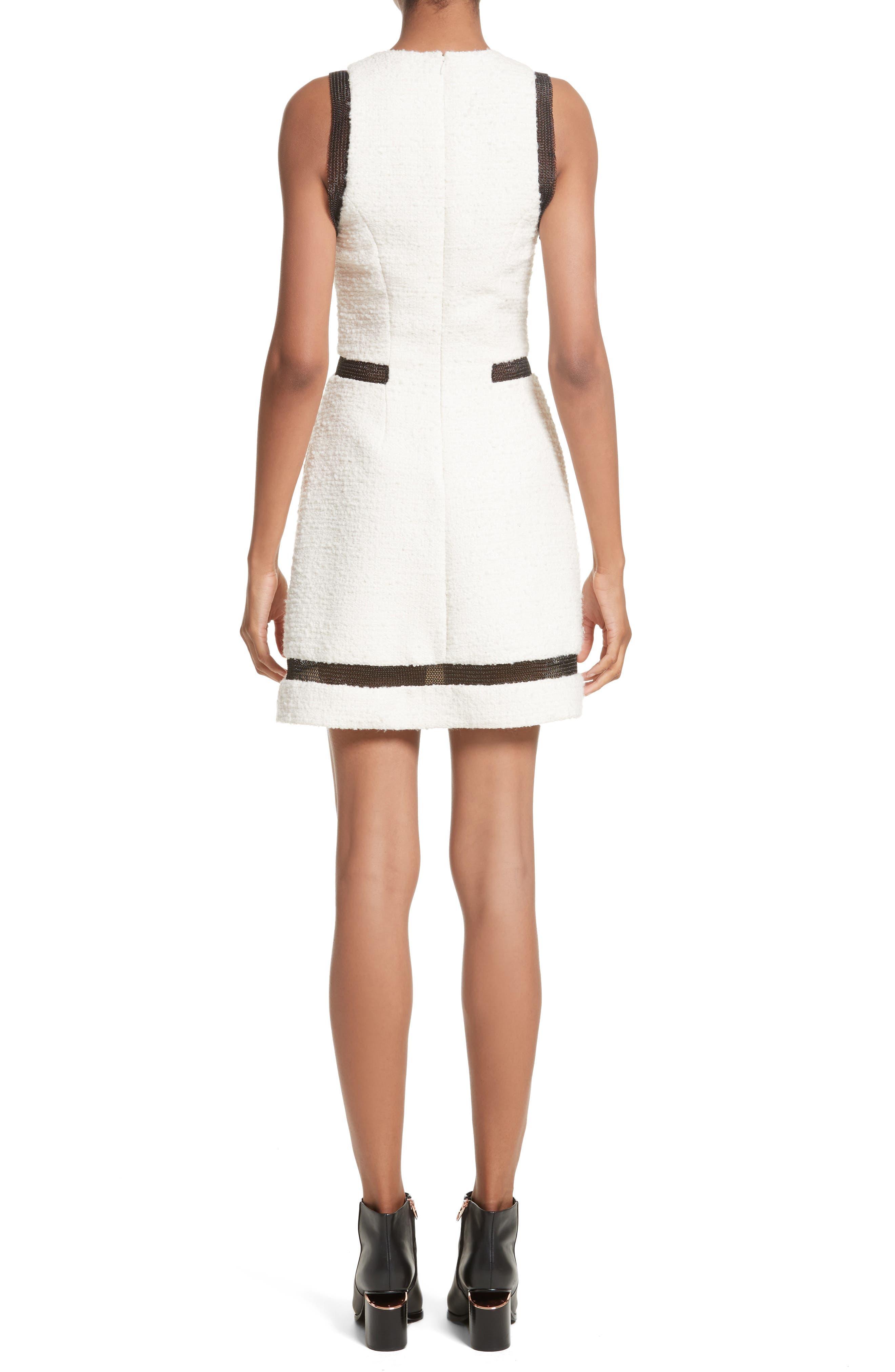 Chain Mail Trim Tweed Dress,                             Alternate thumbnail 2, color,                             900