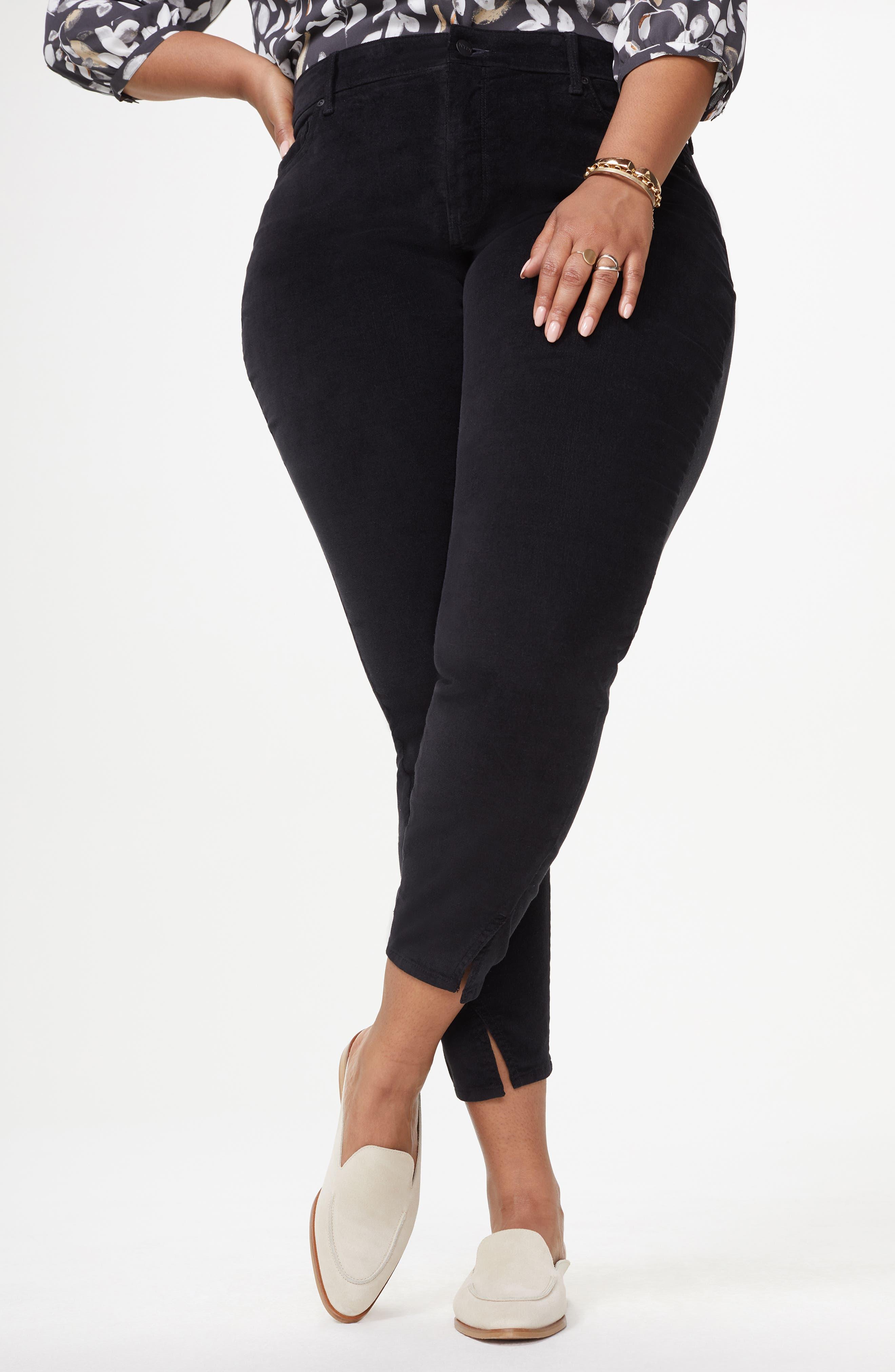 Ami Twist Seam Ankle Slit Velvet Pants,                             Alternate thumbnail 4, color,                             BLACK
