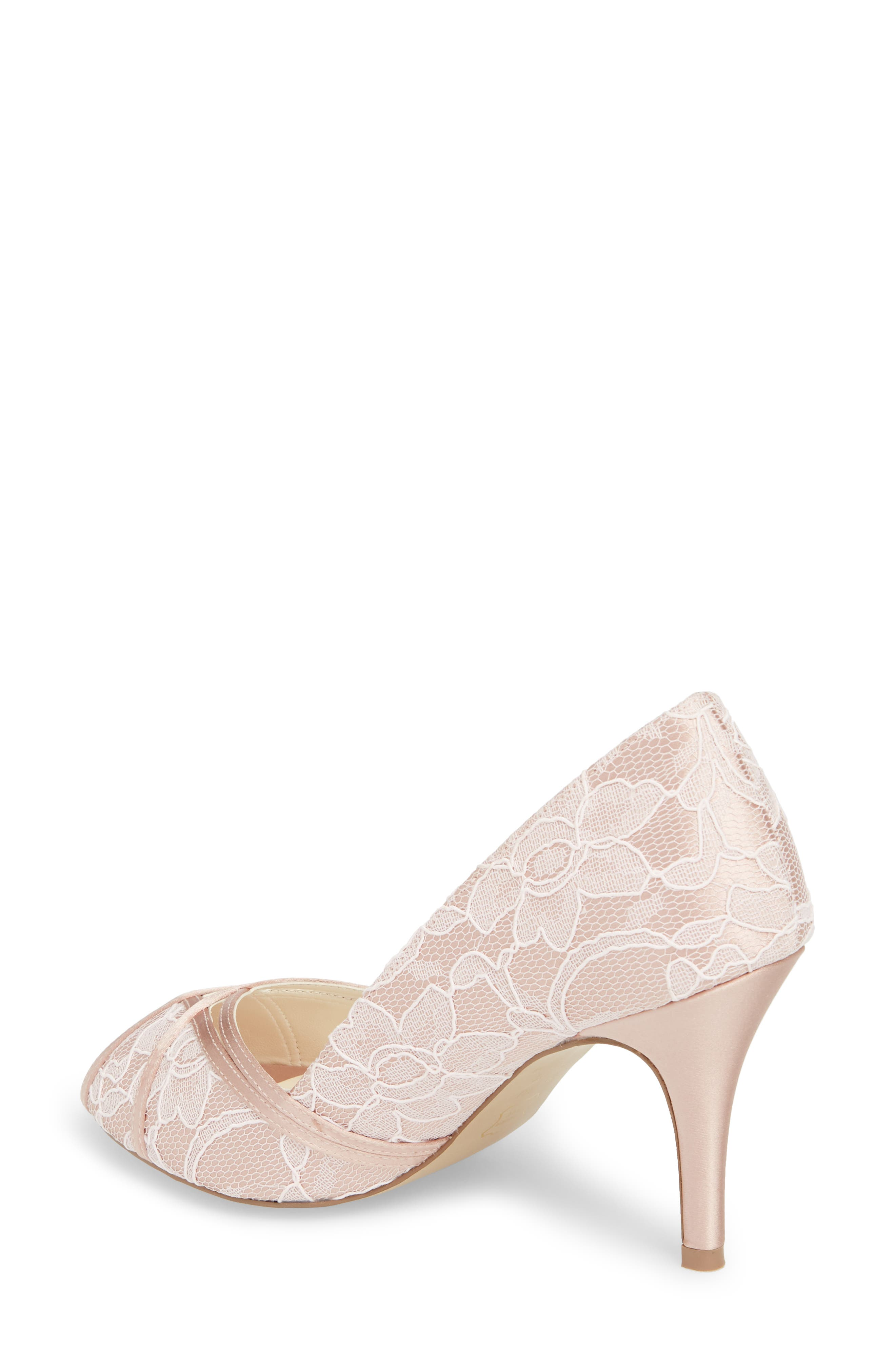 Cherie Embroidered Peep Toe Pump,                             Alternate thumbnail 2, color,                             BLUSH SATIN