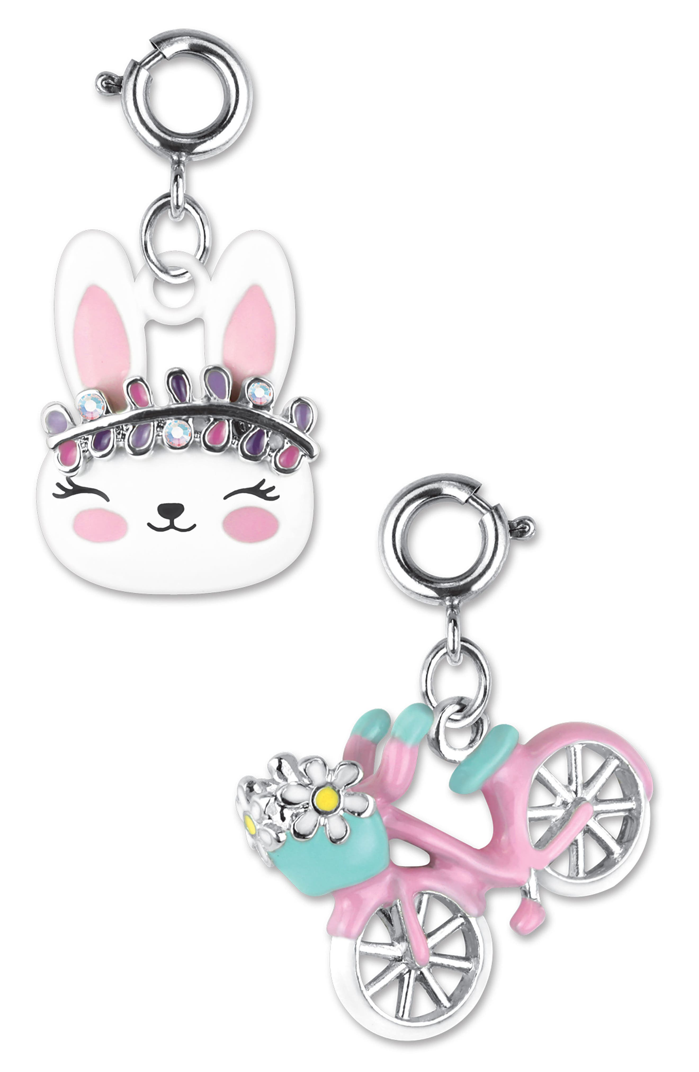 CHARM IT!<sup>®</sup> 2-Pack Bunny & Bicycle Charms,                             Main thumbnail 1, color,                             650