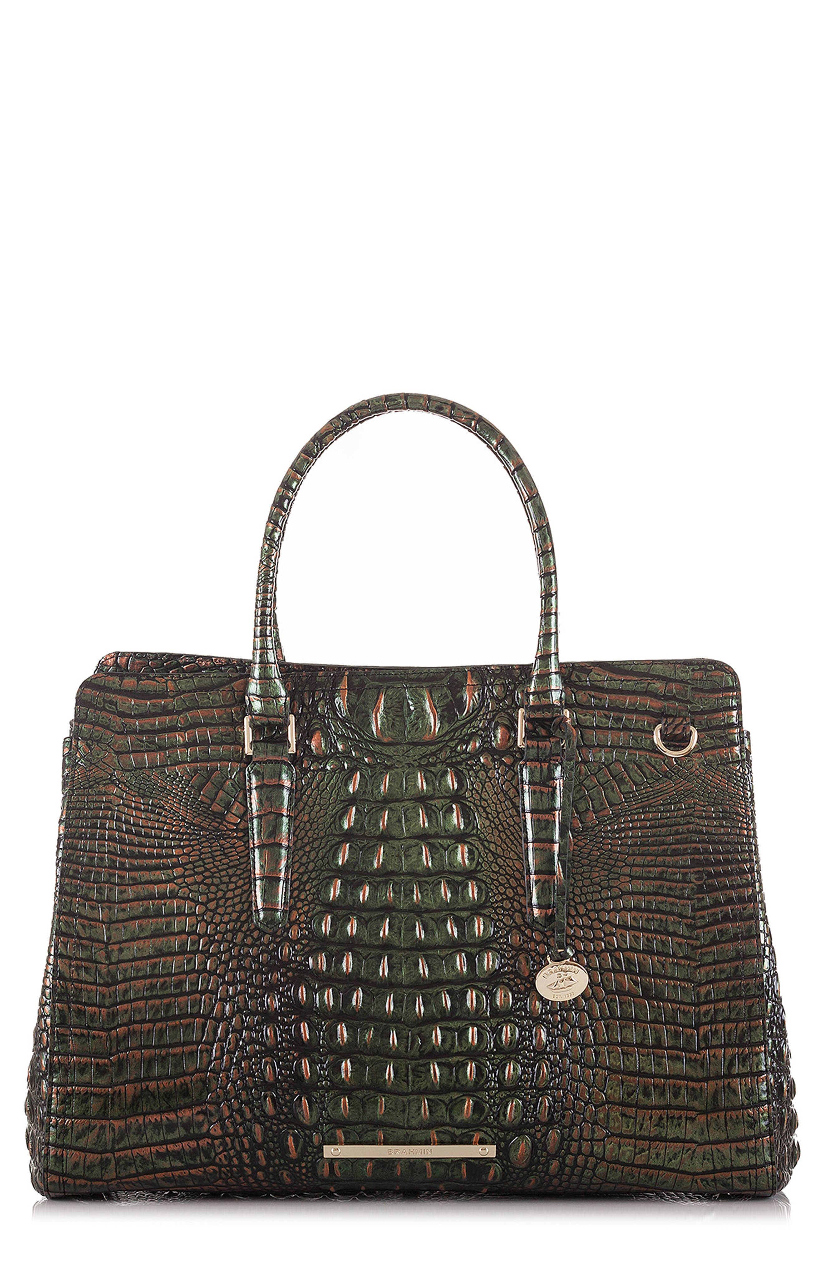 Finley Croc Embossed Leather Tote,                         Main,                         color, SAMBA