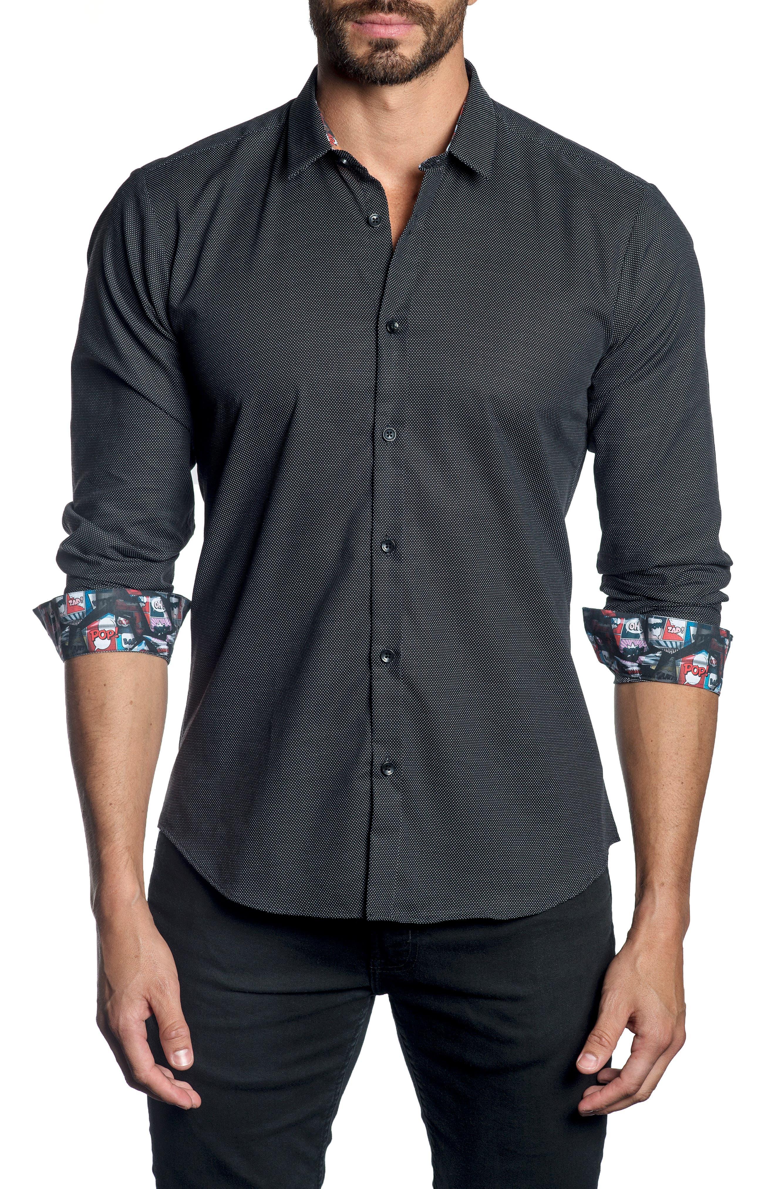 JARED LANG,                             Trim Fit Dot Sport Shirt,                             Main thumbnail 1, color,                             001