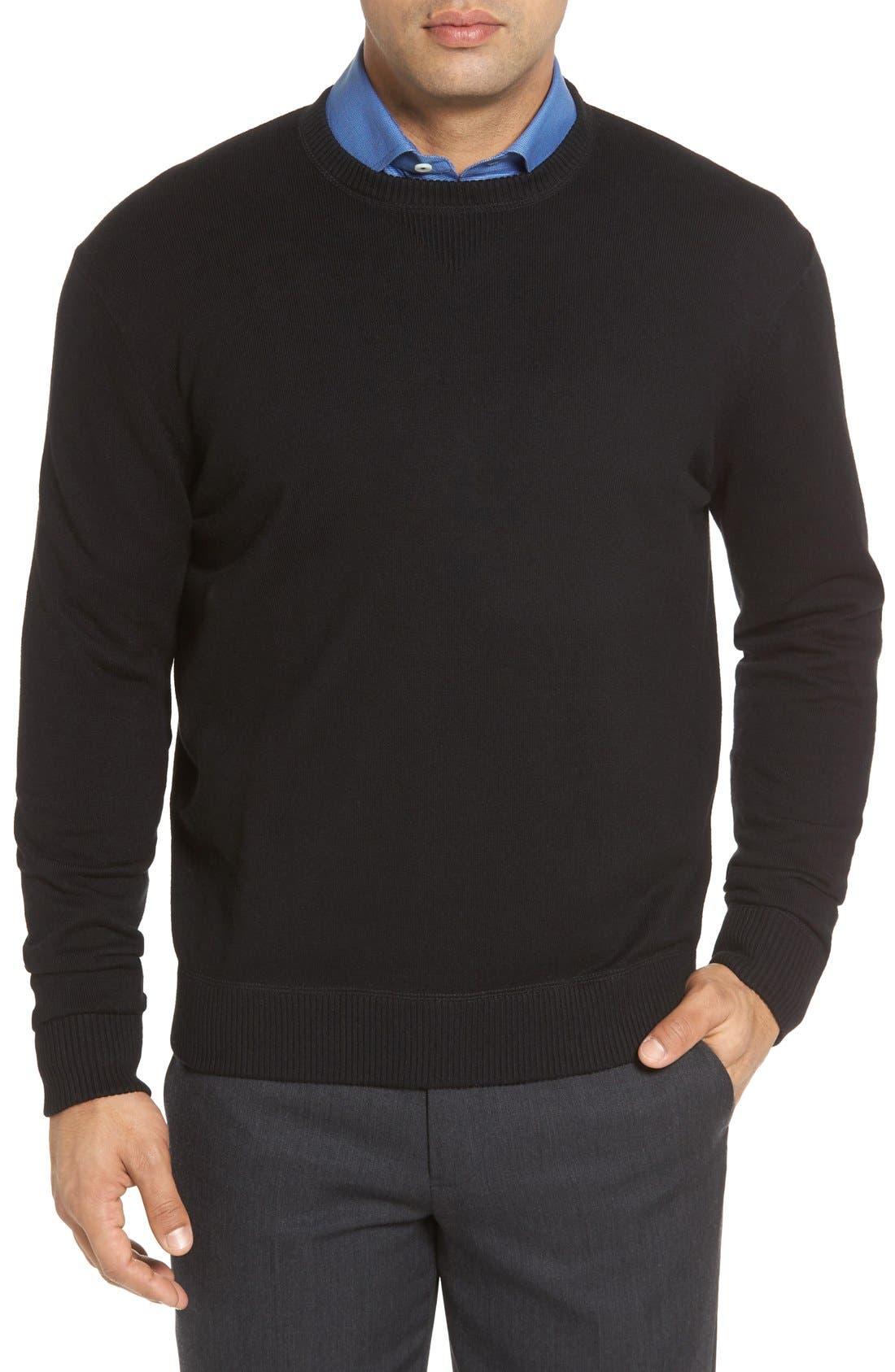 'Jersey Sport' Cotton Blend Crewneck Sweater,                         Main,                         color, 001