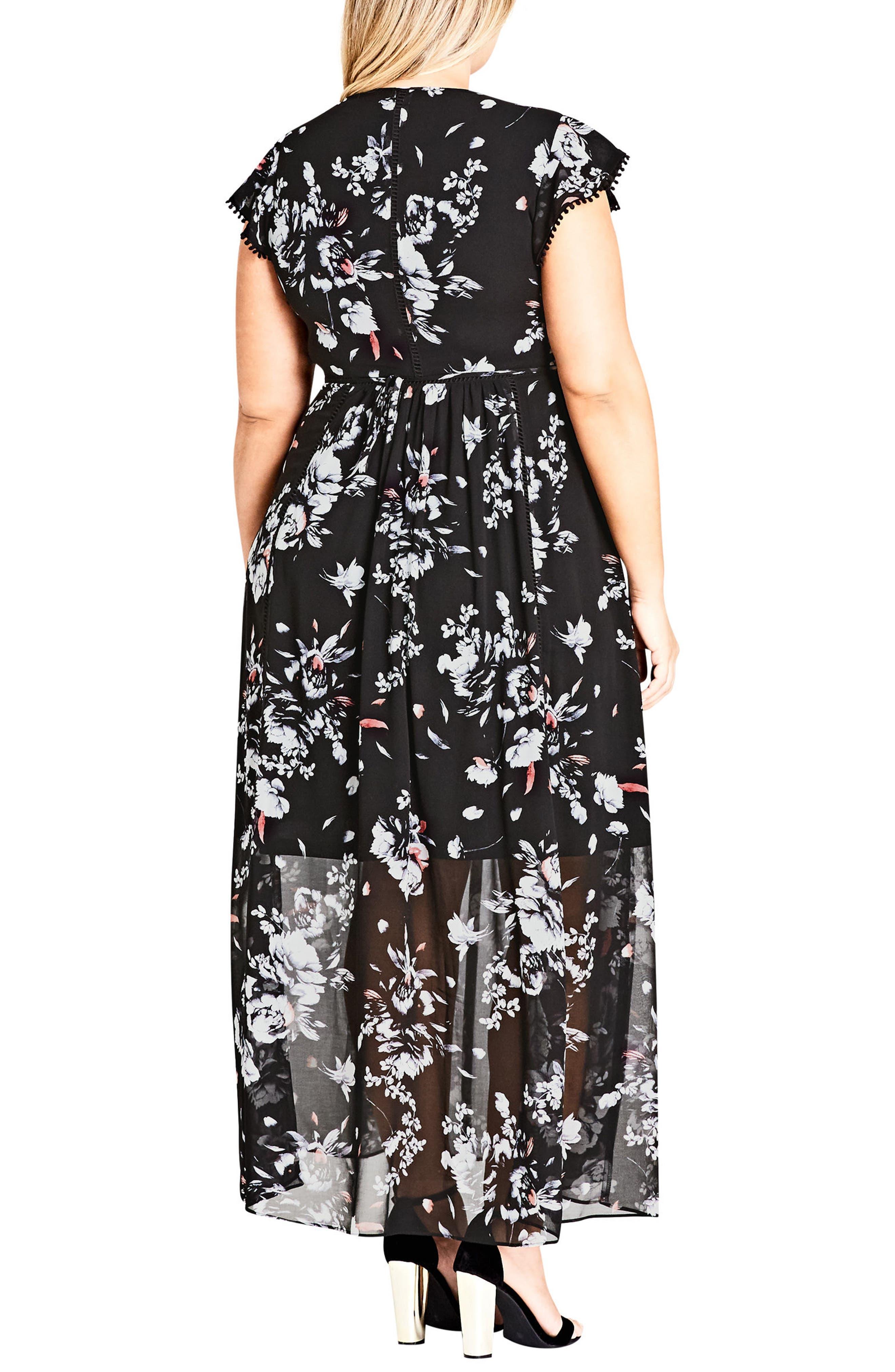 Flutter Rose Maxi Dress,                             Alternate thumbnail 2, color,                             FLUTTER ROSE
