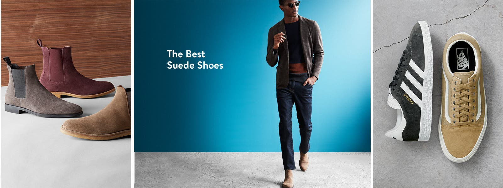 Suede boots and sneakers for men.