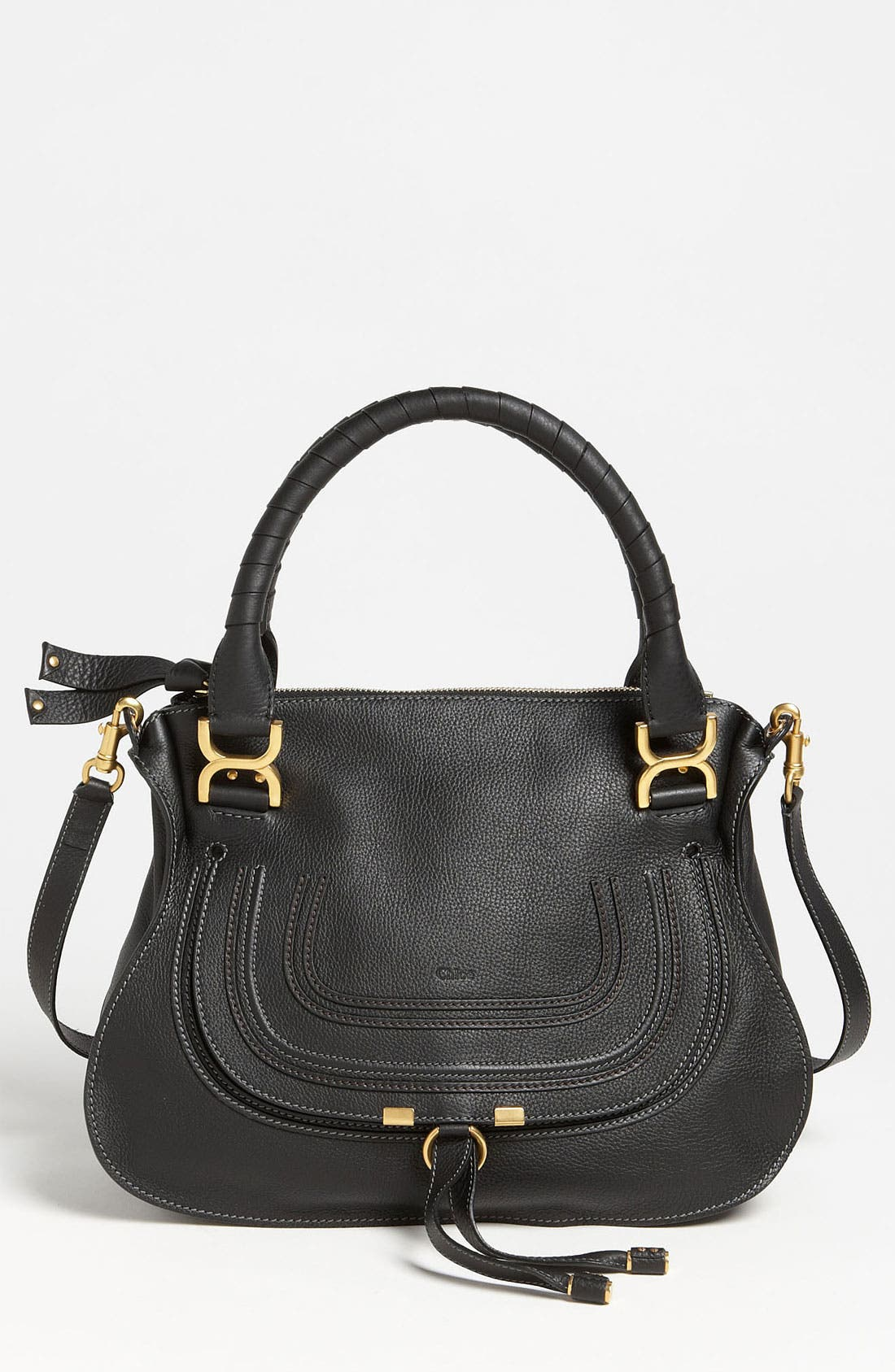 'Medium Marcie' Leather Satchel,                         Main,                         color, BLACK GOLD HRDWRE