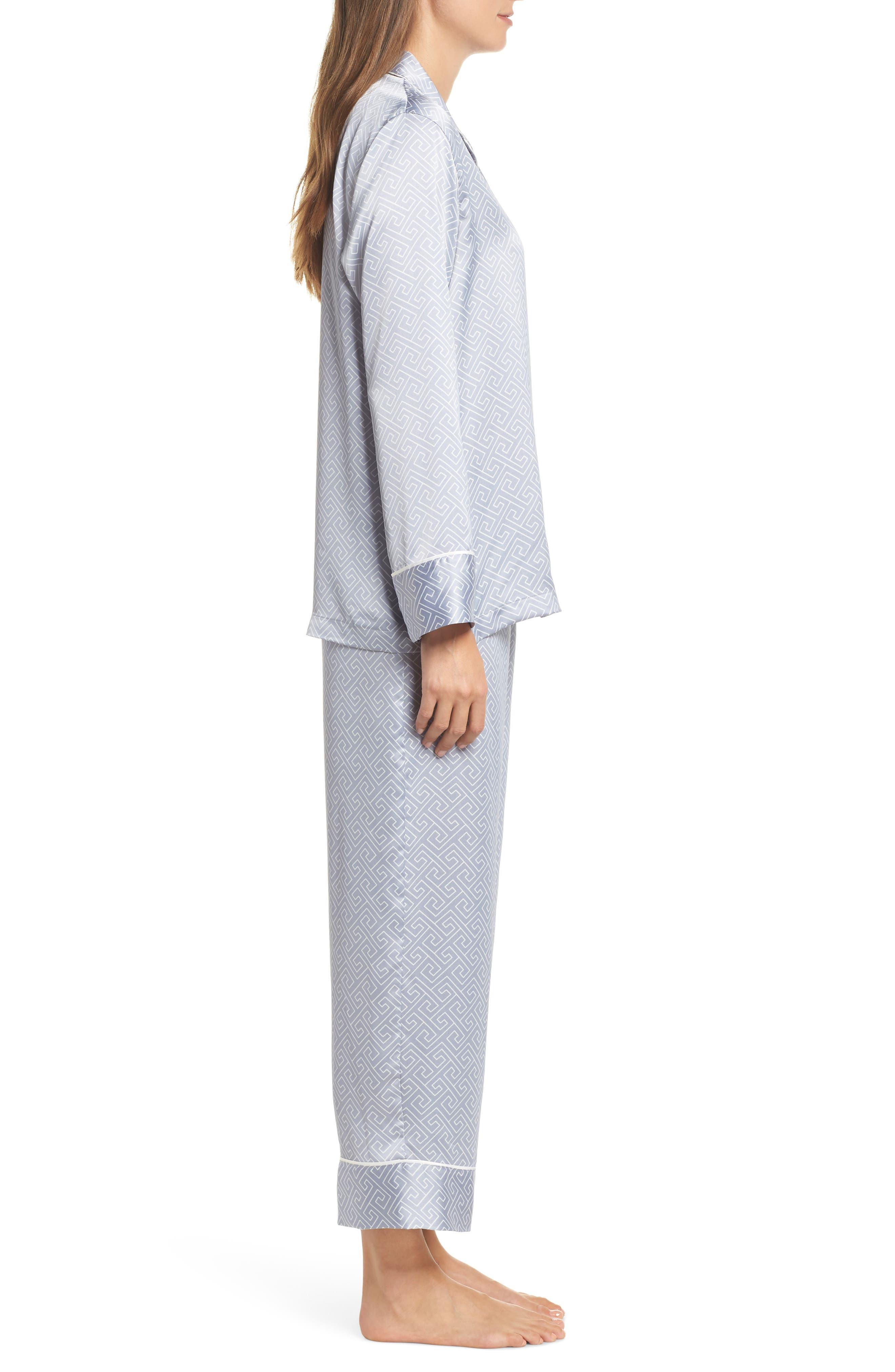 Labyrinth Satin Pajamas,                             Alternate thumbnail 3, color,                             SMOKY IRIS