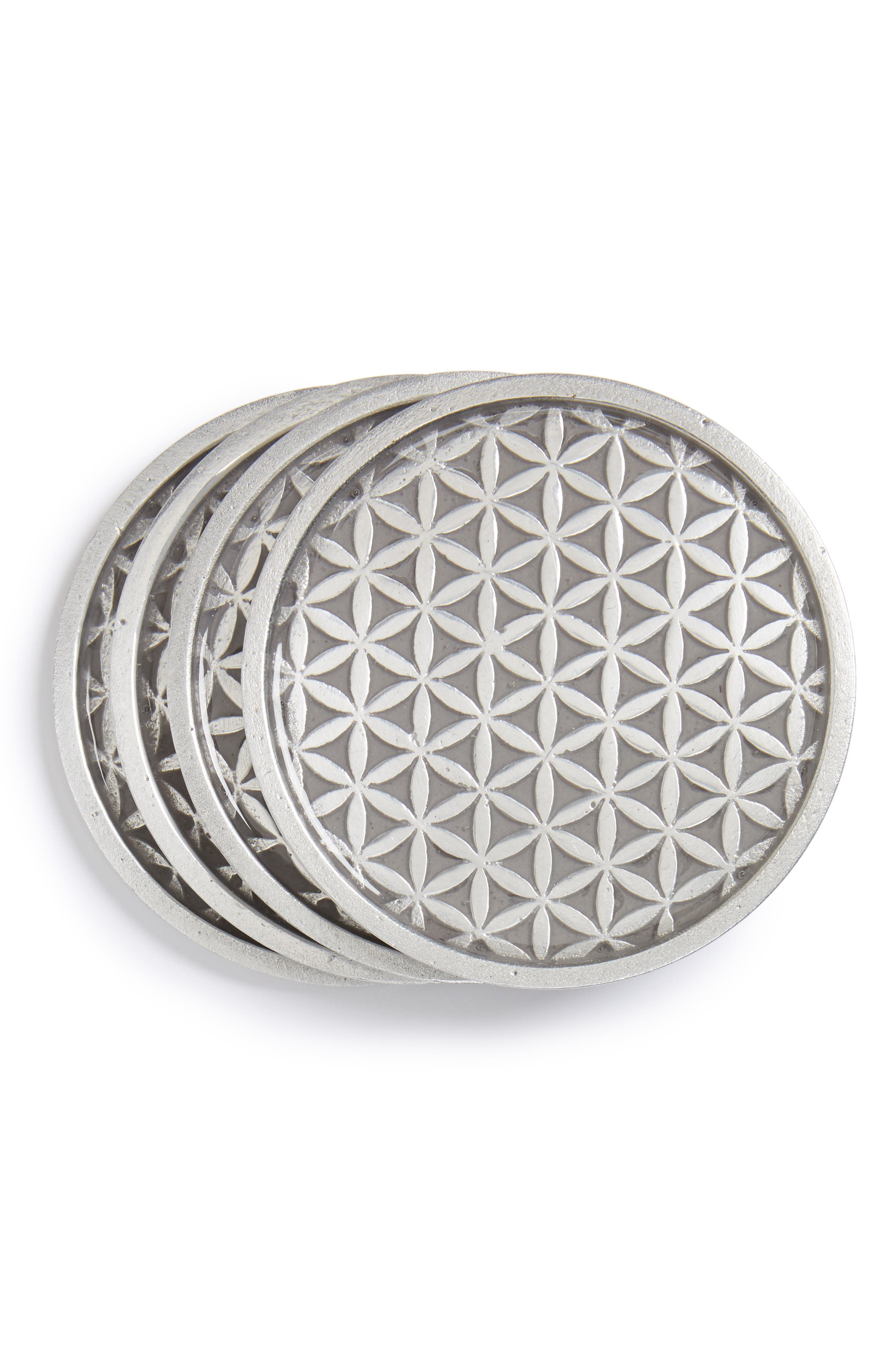 Flower of Life Set of 4 Coasters,                             Main thumbnail 1, color,                             020