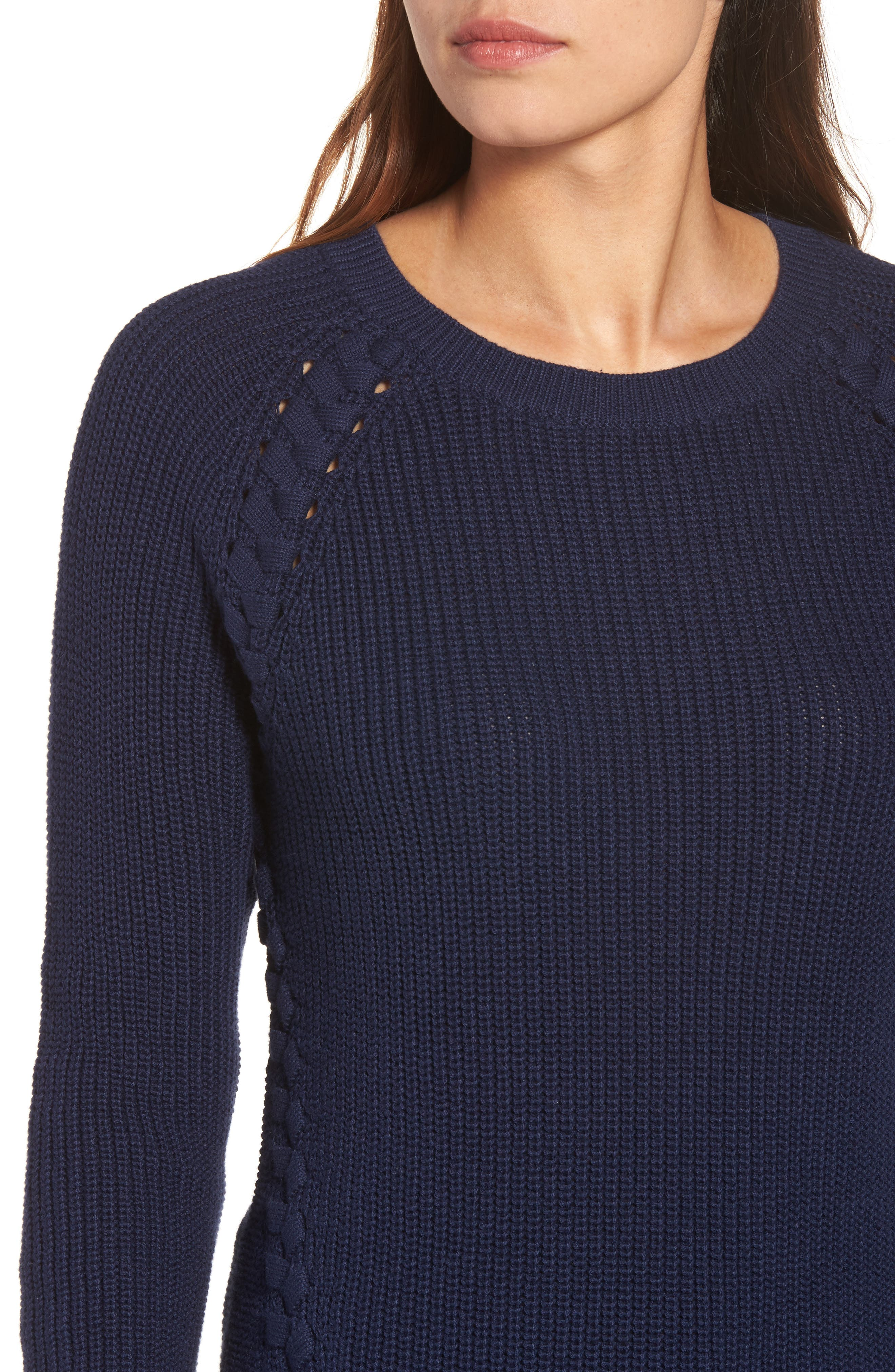 Lace-Up Sweater,                             Alternate thumbnail 4, color,                             410