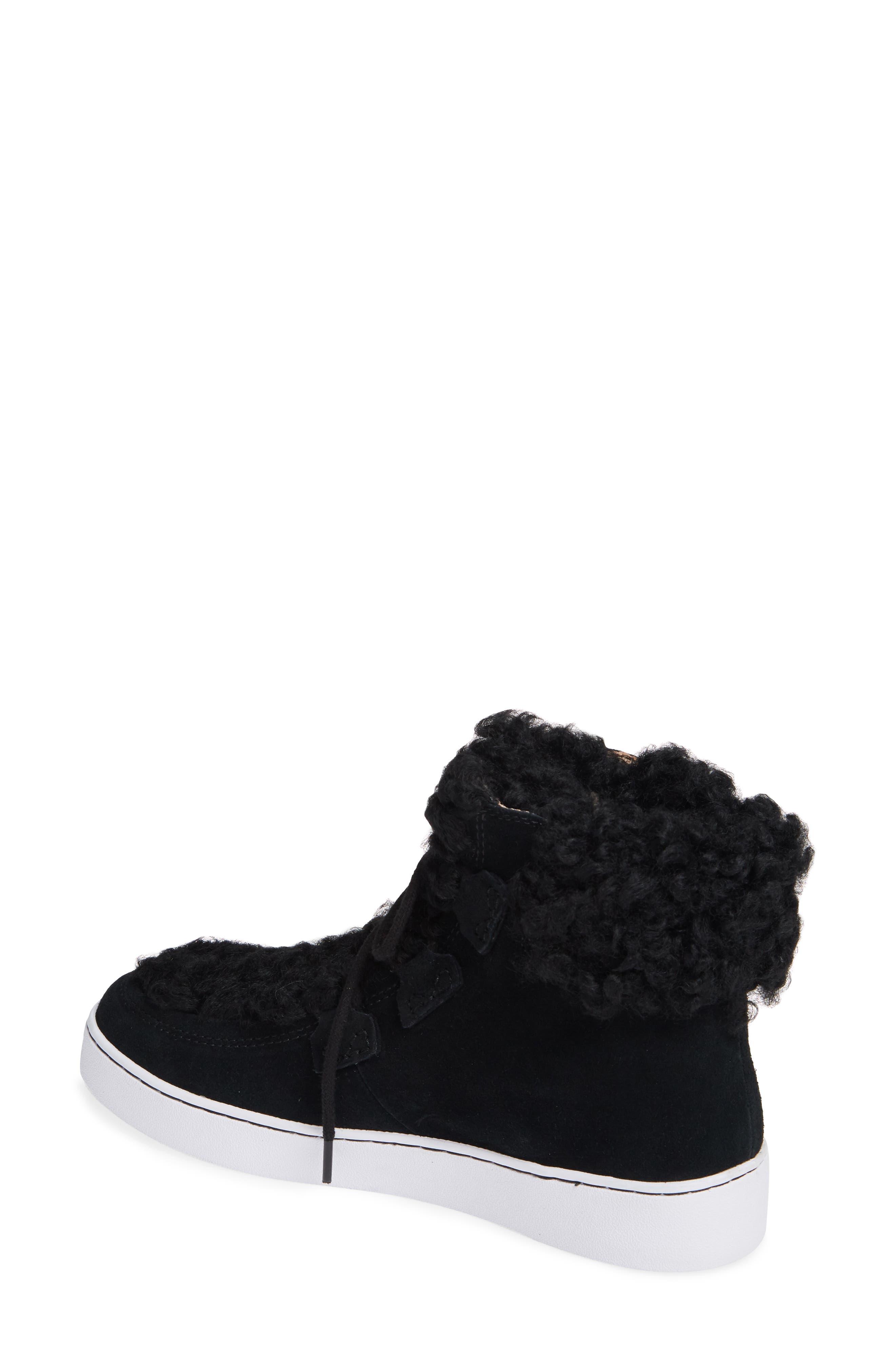 Oak Genuine Shearling Cuff Sneaker Bootie,                             Alternate thumbnail 2, color,                             BLACK SUEDE