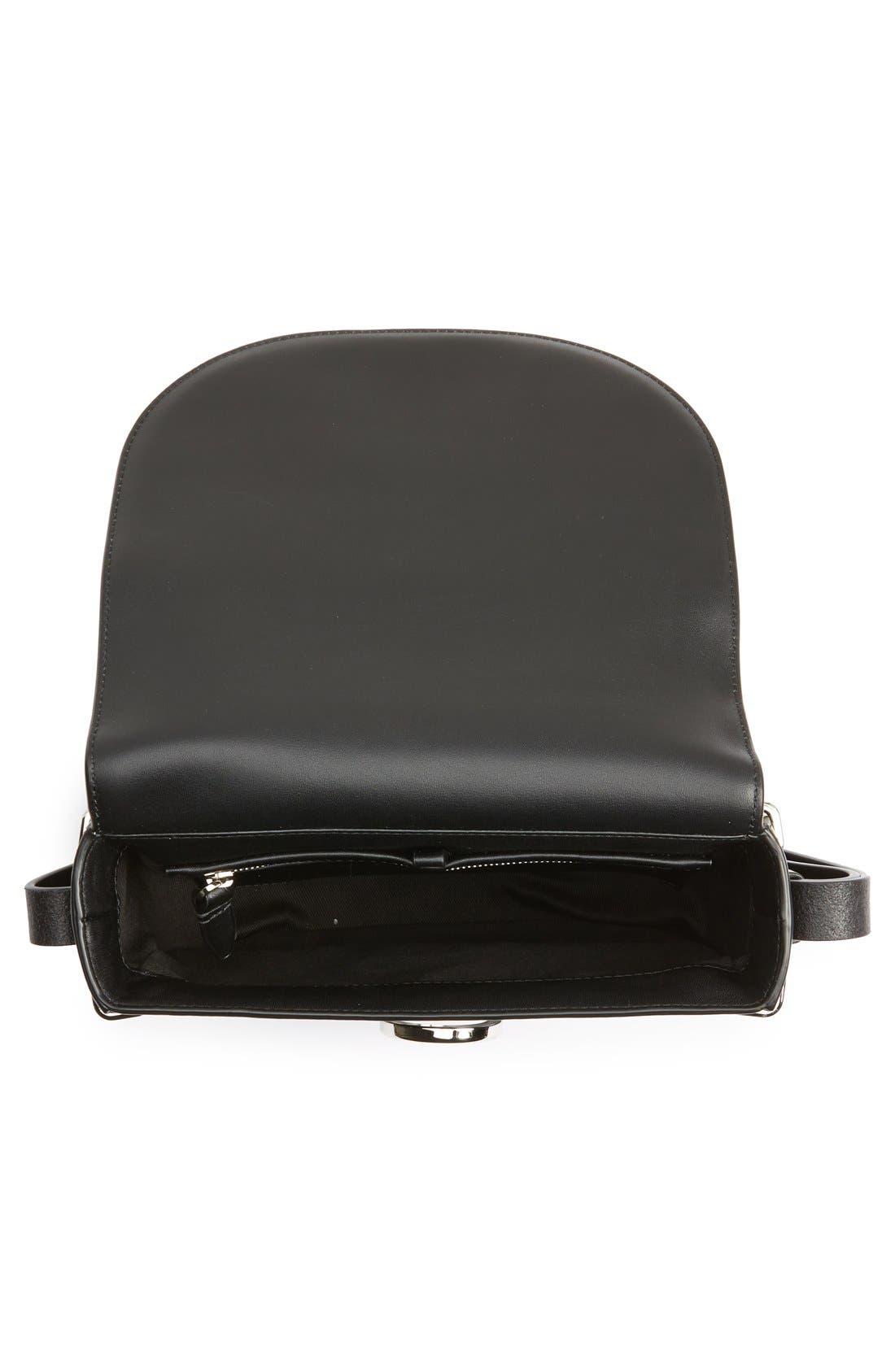 Alix Leather Saddle Bag,                             Alternate thumbnail 4, color,                             001