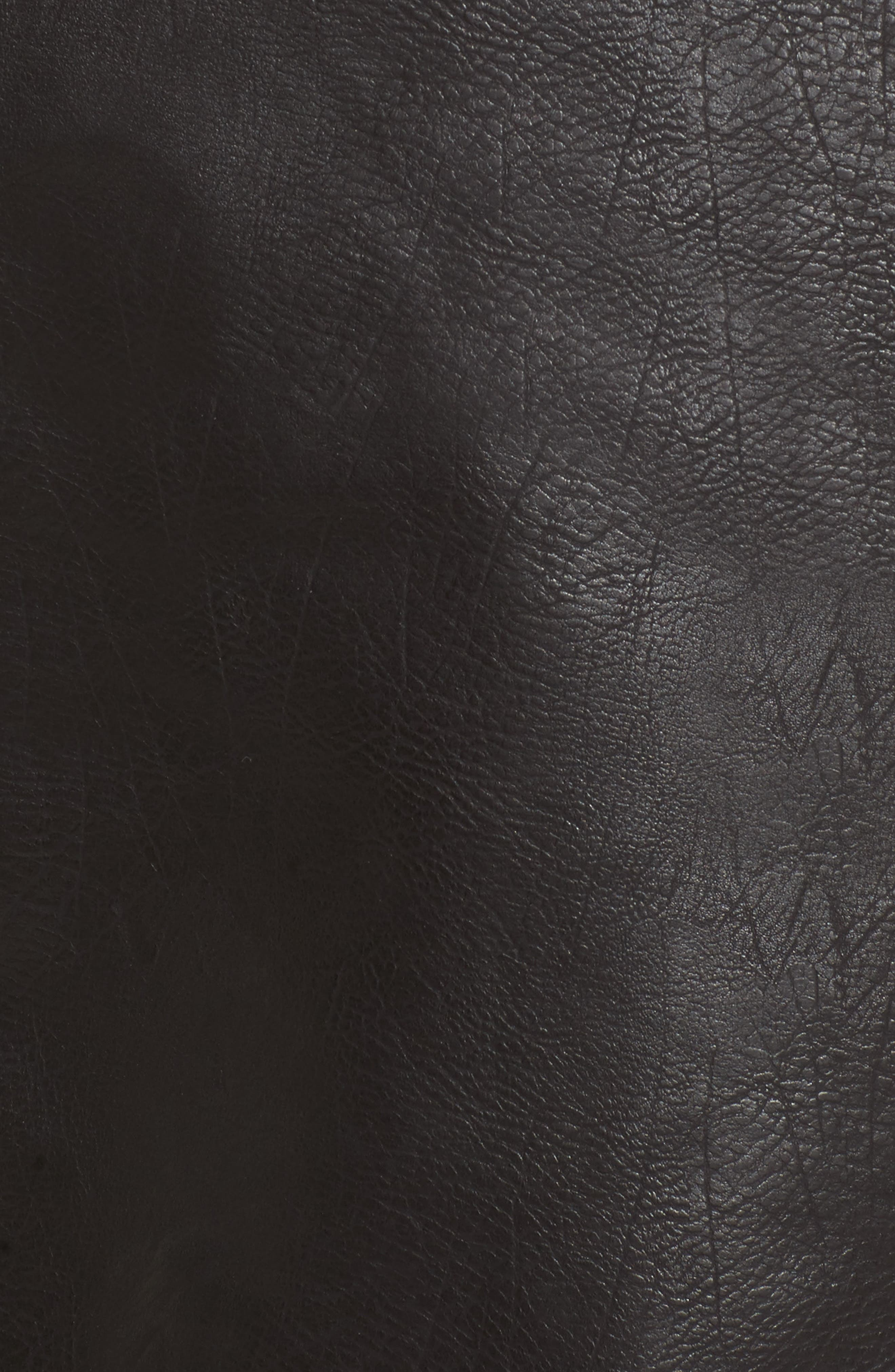 Faux Leather Biker Jacket with Faux Fur Trim,                             Alternate thumbnail 6, color,                             001