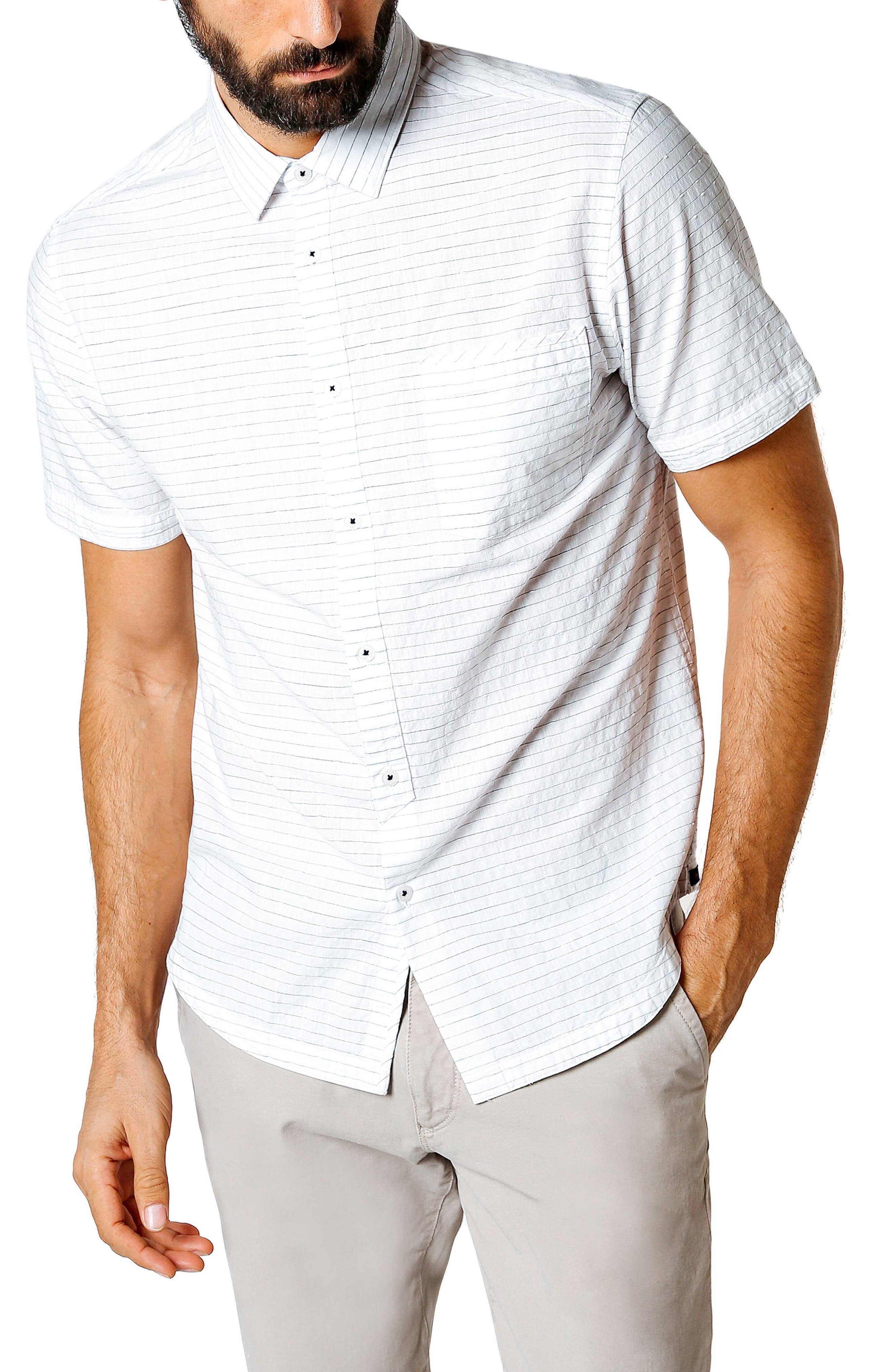 Longboard Trim Fit Stripe Sport Shirt,                         Main,                         color, WHITE