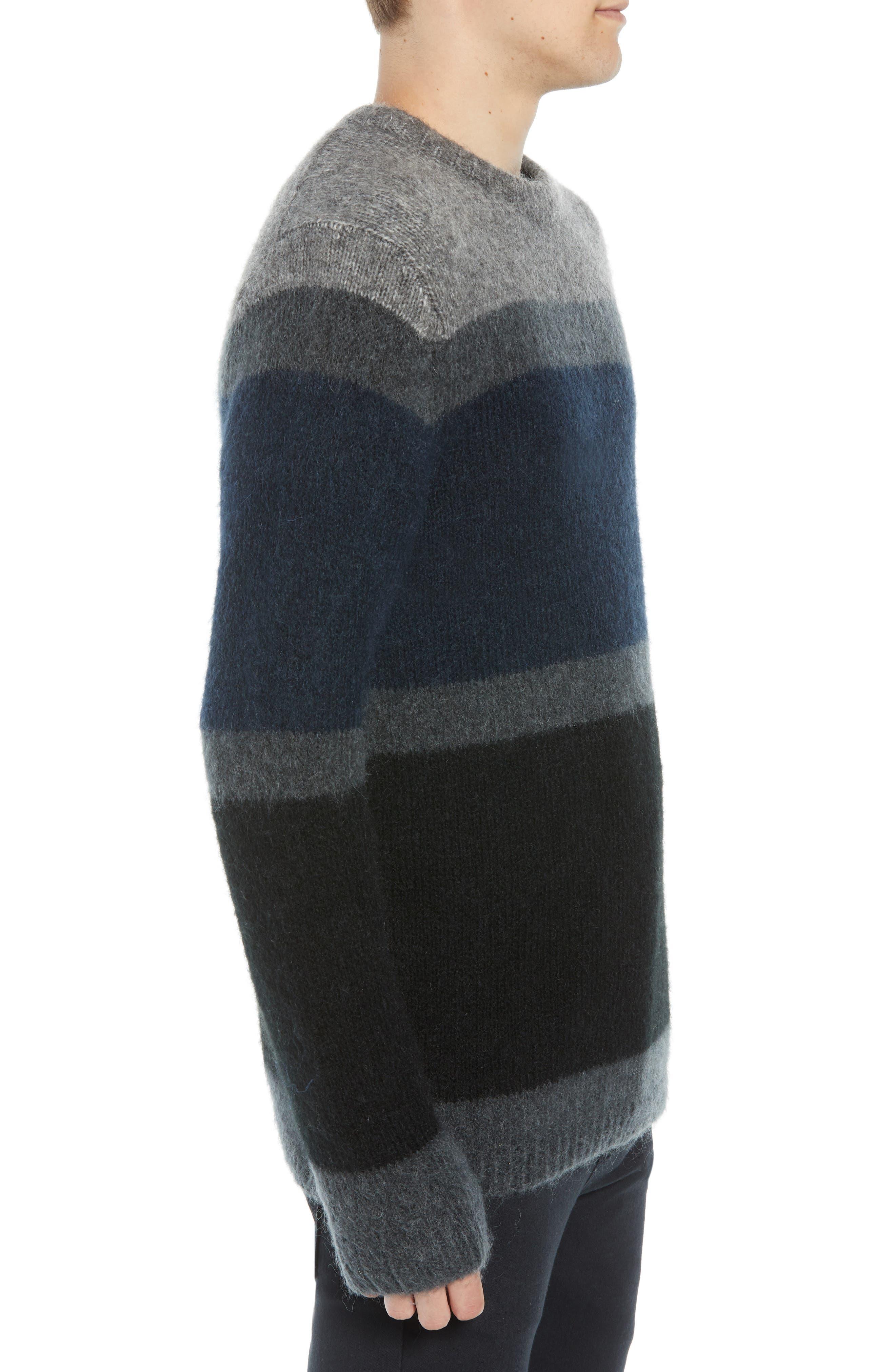 Stripe Sweater,                             Alternate thumbnail 3, color,                             UTILITY BLUE CHARCOAL MELANGE