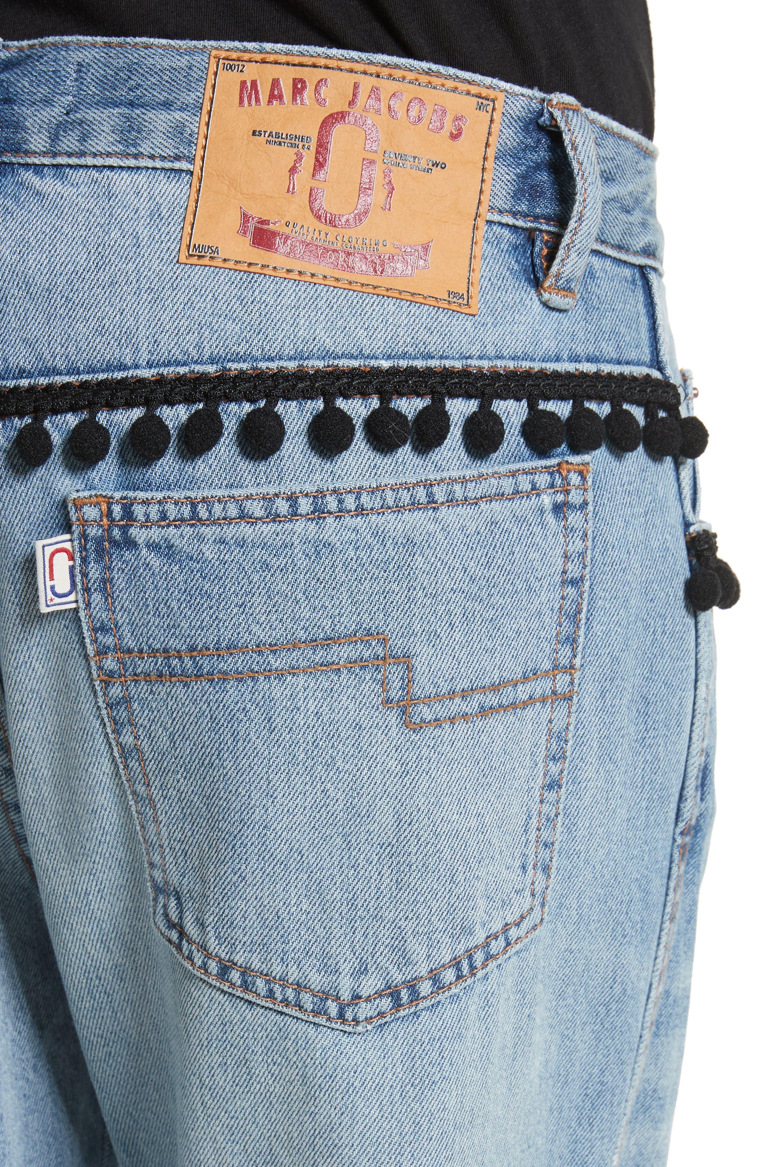 Pom Trim Crop Jeans,                             Alternate thumbnail 4, color,                             489