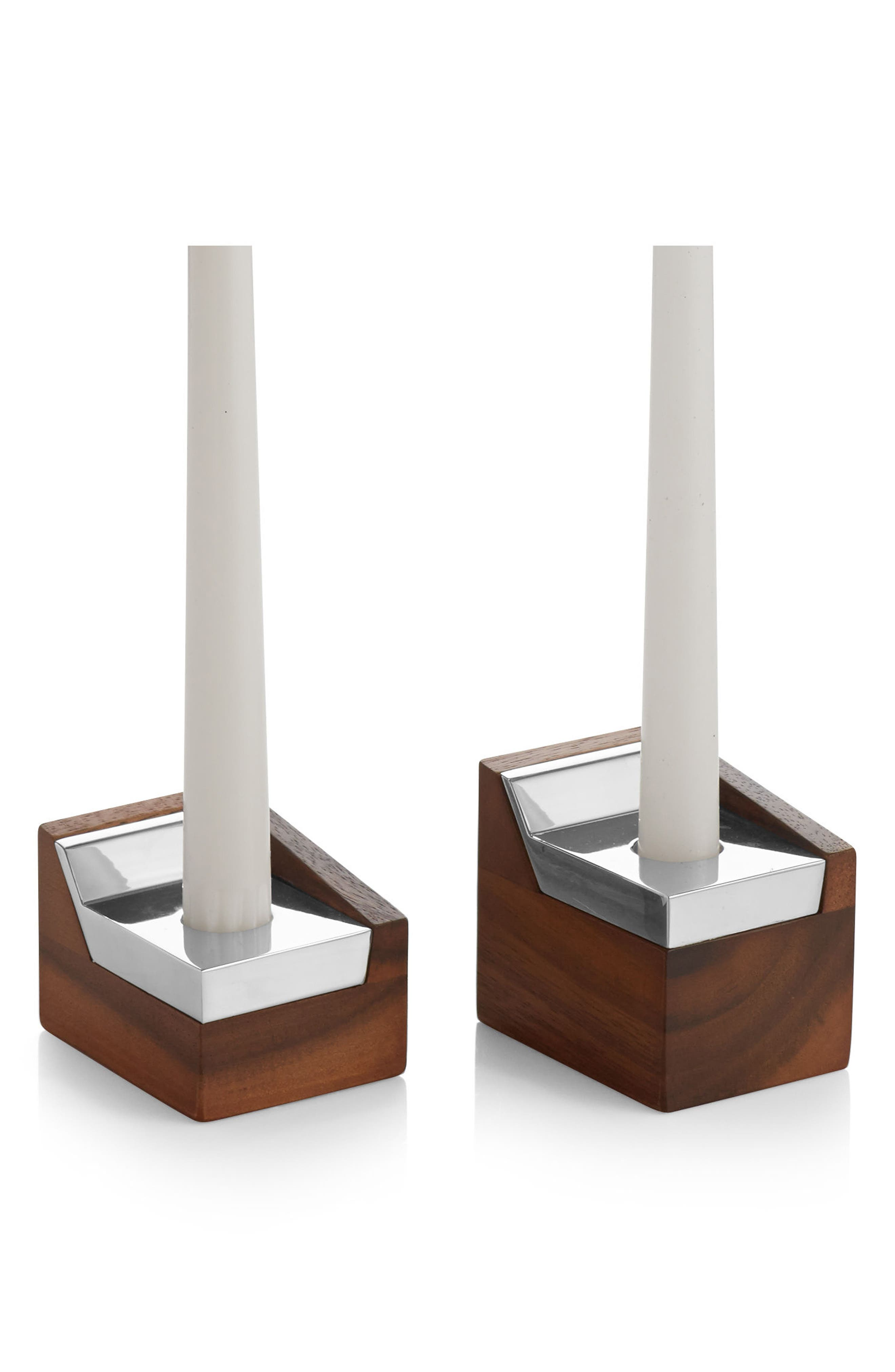 Geo Sabbath Set of 2 Candlesticks,                             Alternate thumbnail 2, color,                             200