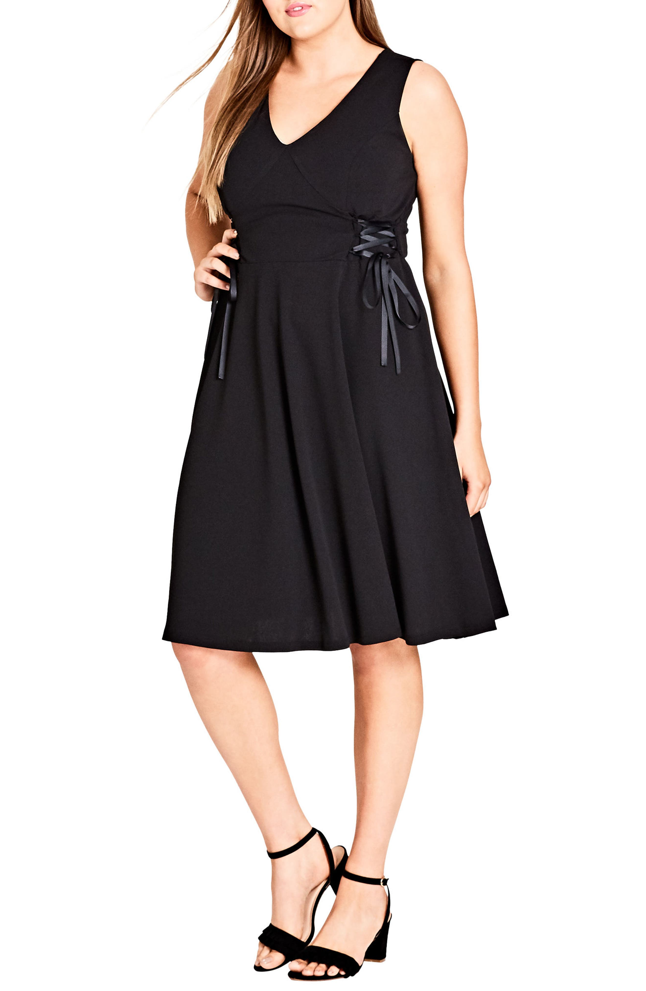 CITY CHIC,                             Fit & Flare Dress,                             Main thumbnail 1, color,                             011