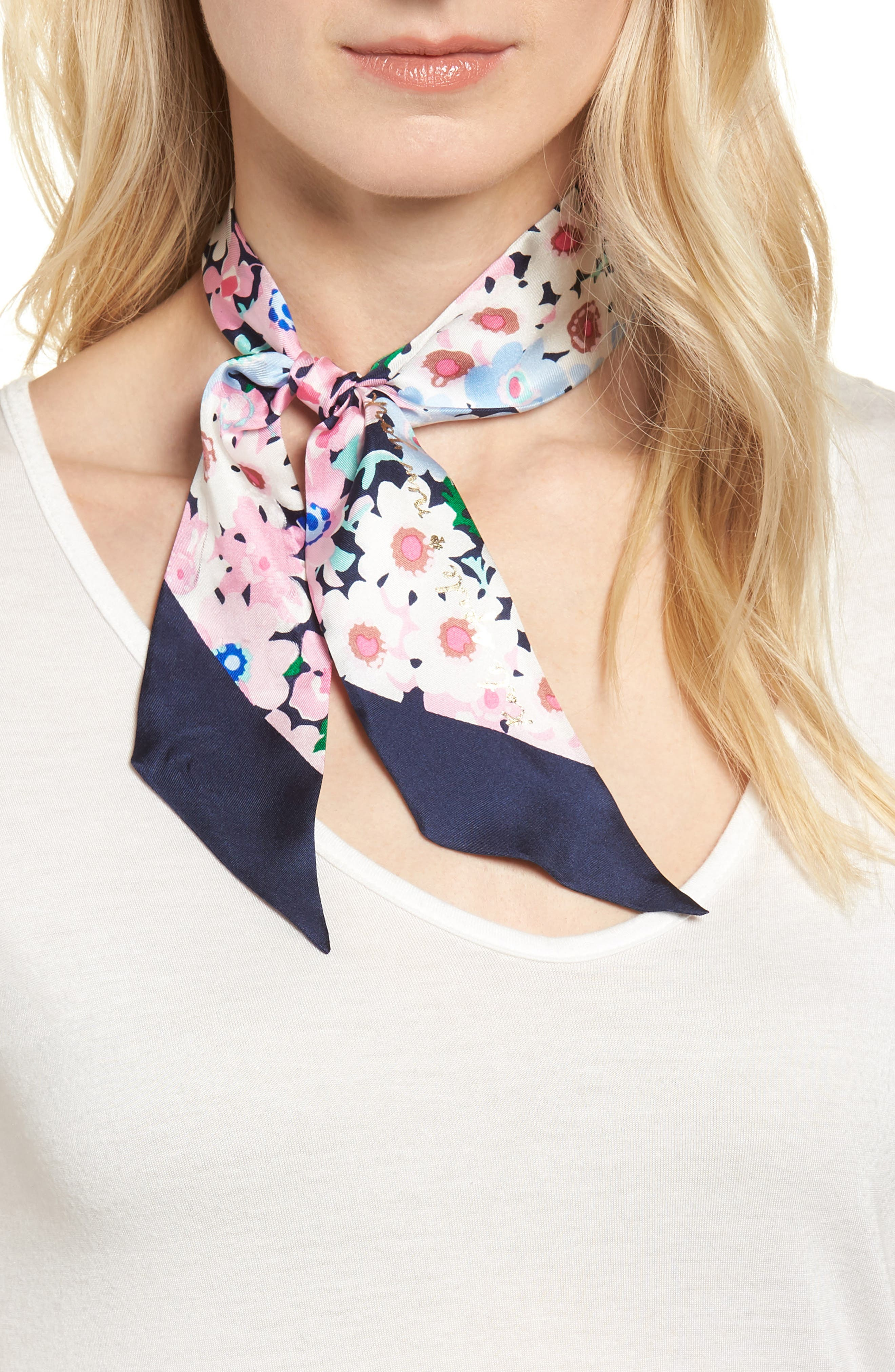 daisy garden skinny silk scarf,                             Main thumbnail 1, color,                             415