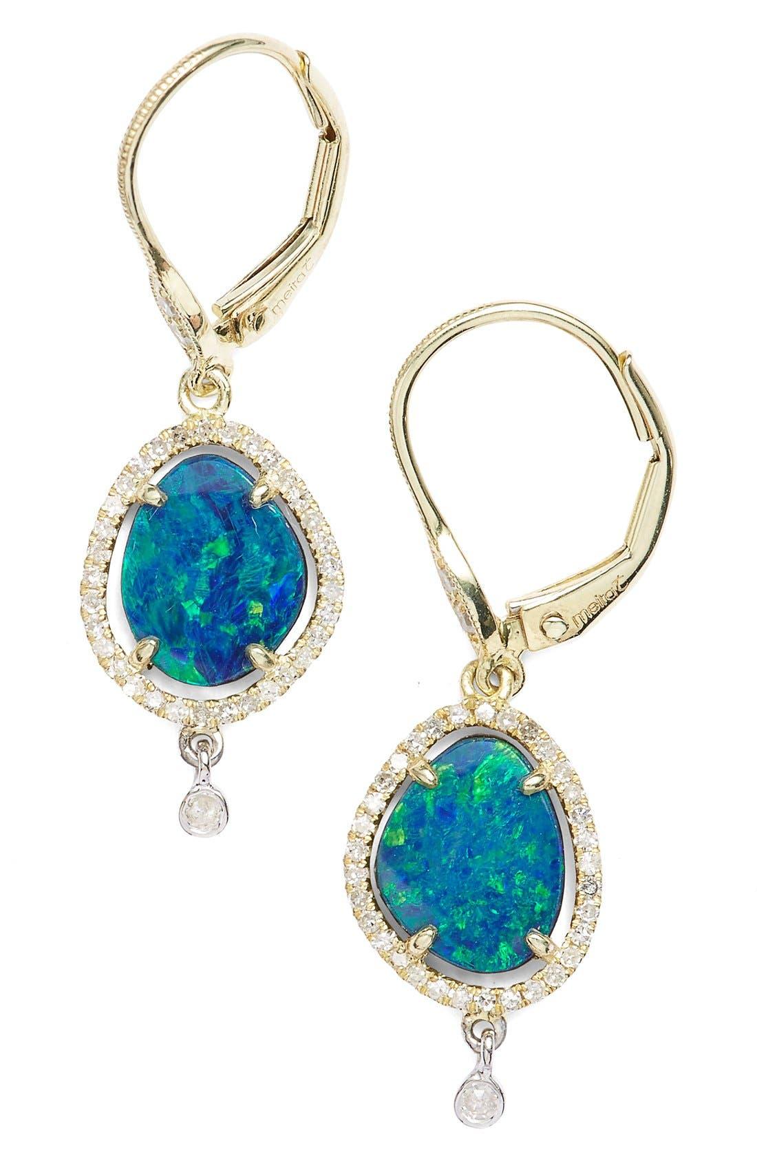 Diamond & Semiprecious Stone Drop Earrings,                             Main thumbnail 3, color,