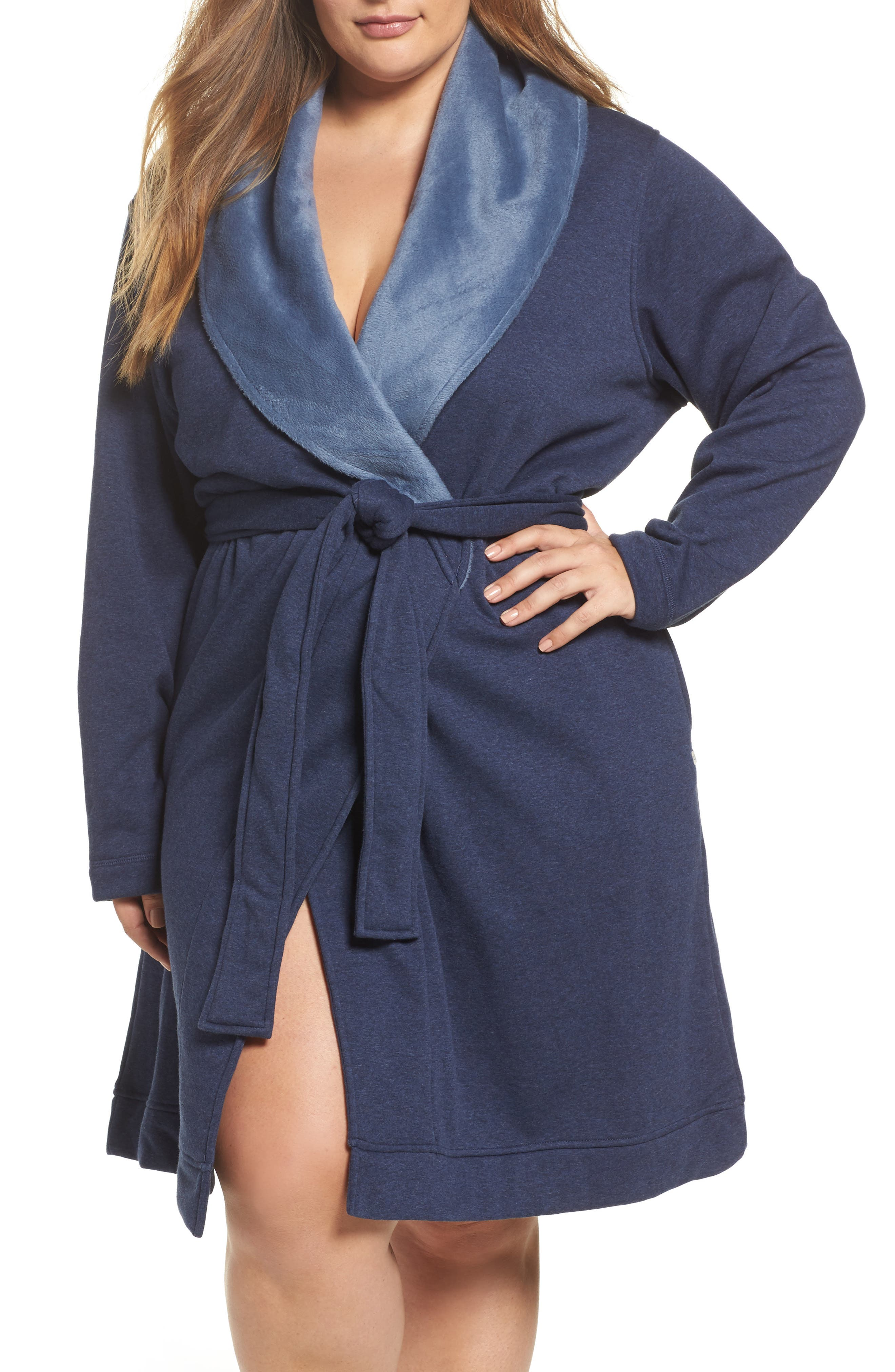 'Blanche' Plush Shawl Collar Robe,                         Main,                         color, 400