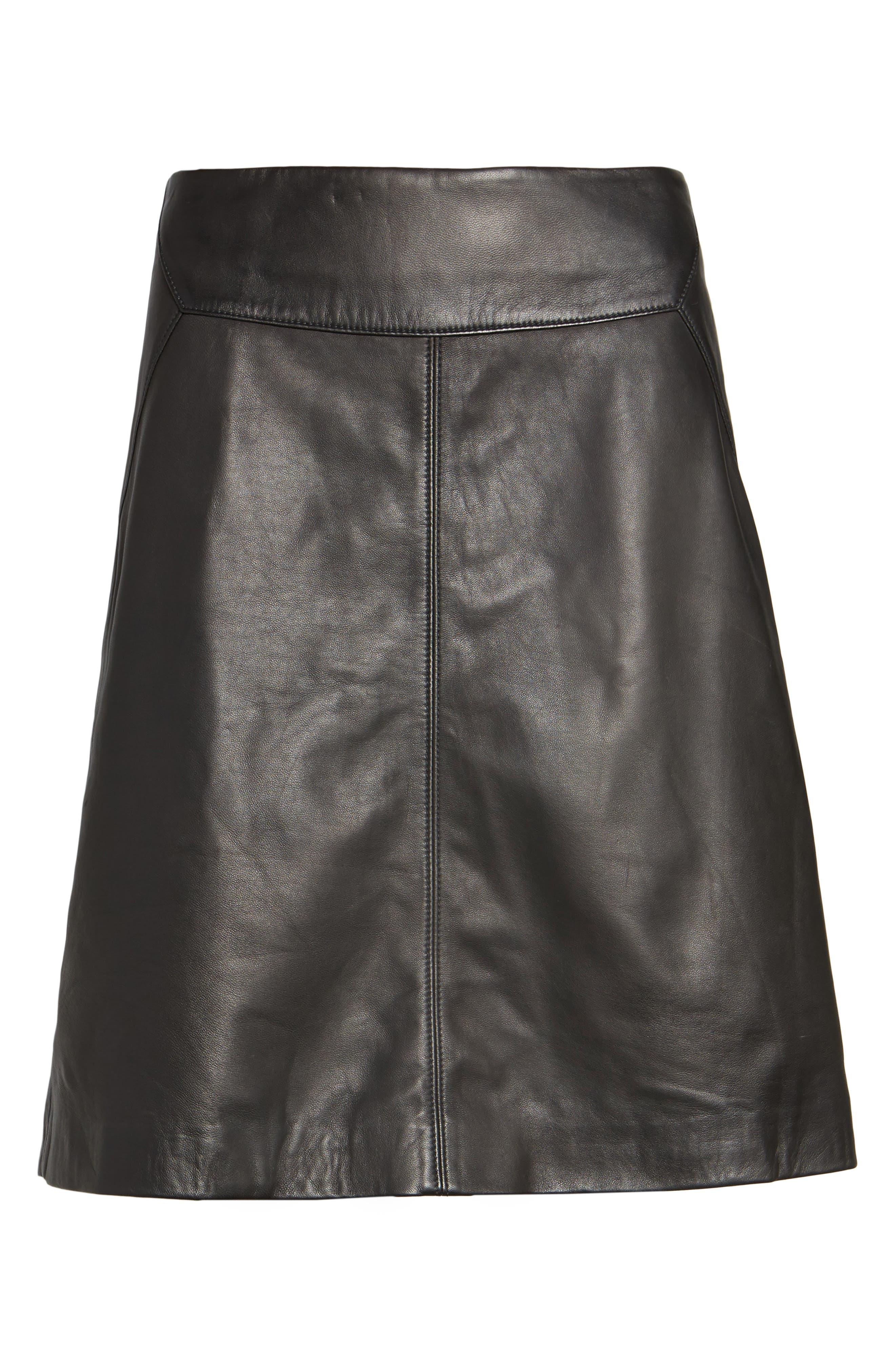 Leather Skirt,                             Alternate thumbnail 6, color,                             001