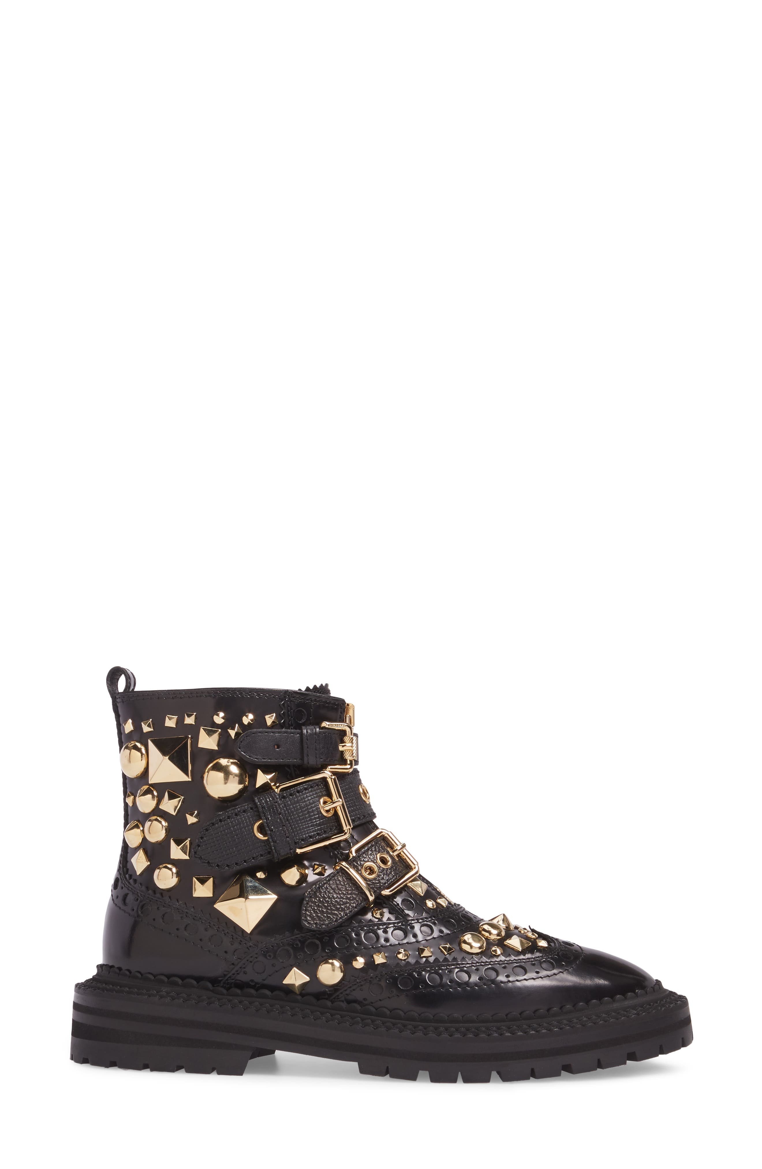 Studded Combat Boot,                             Alternate thumbnail 3, color,                             001