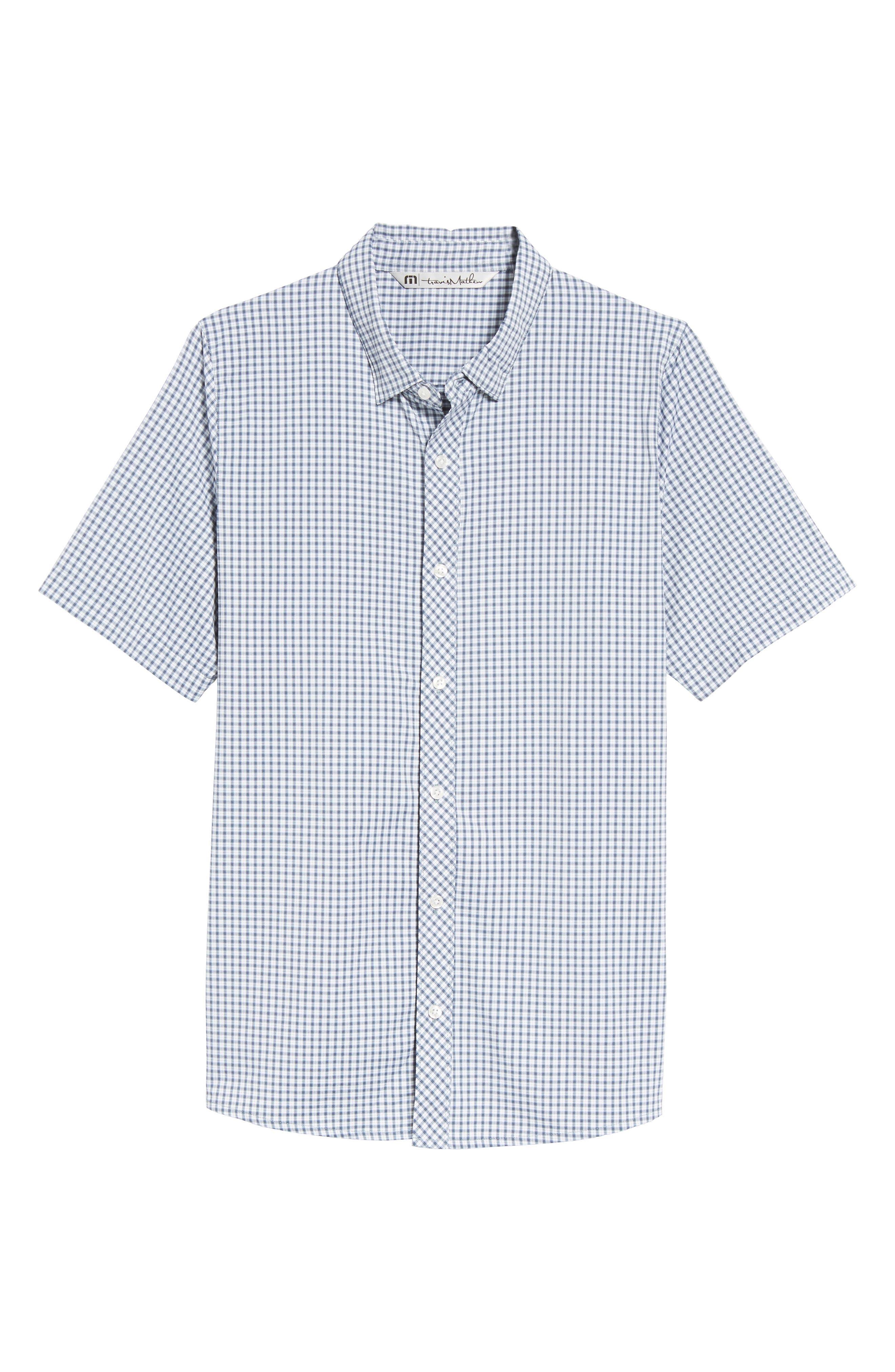 Barker Trim Fit Plaid Sport Shirt,                             Alternate thumbnail 6, color,                             400