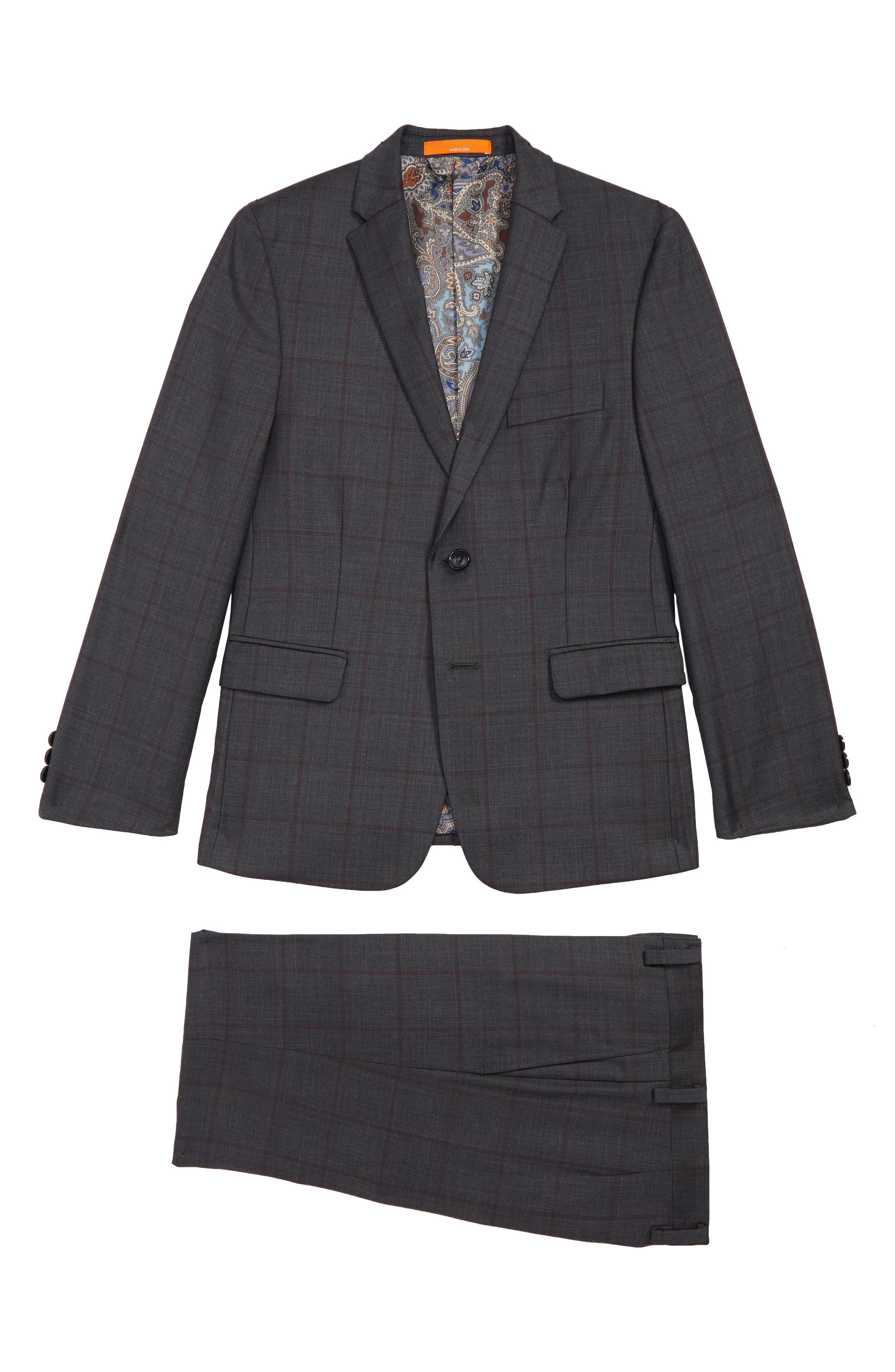 Windowpane Check Wool Suit,                         Main,                         color, CHARCOAL/ RED