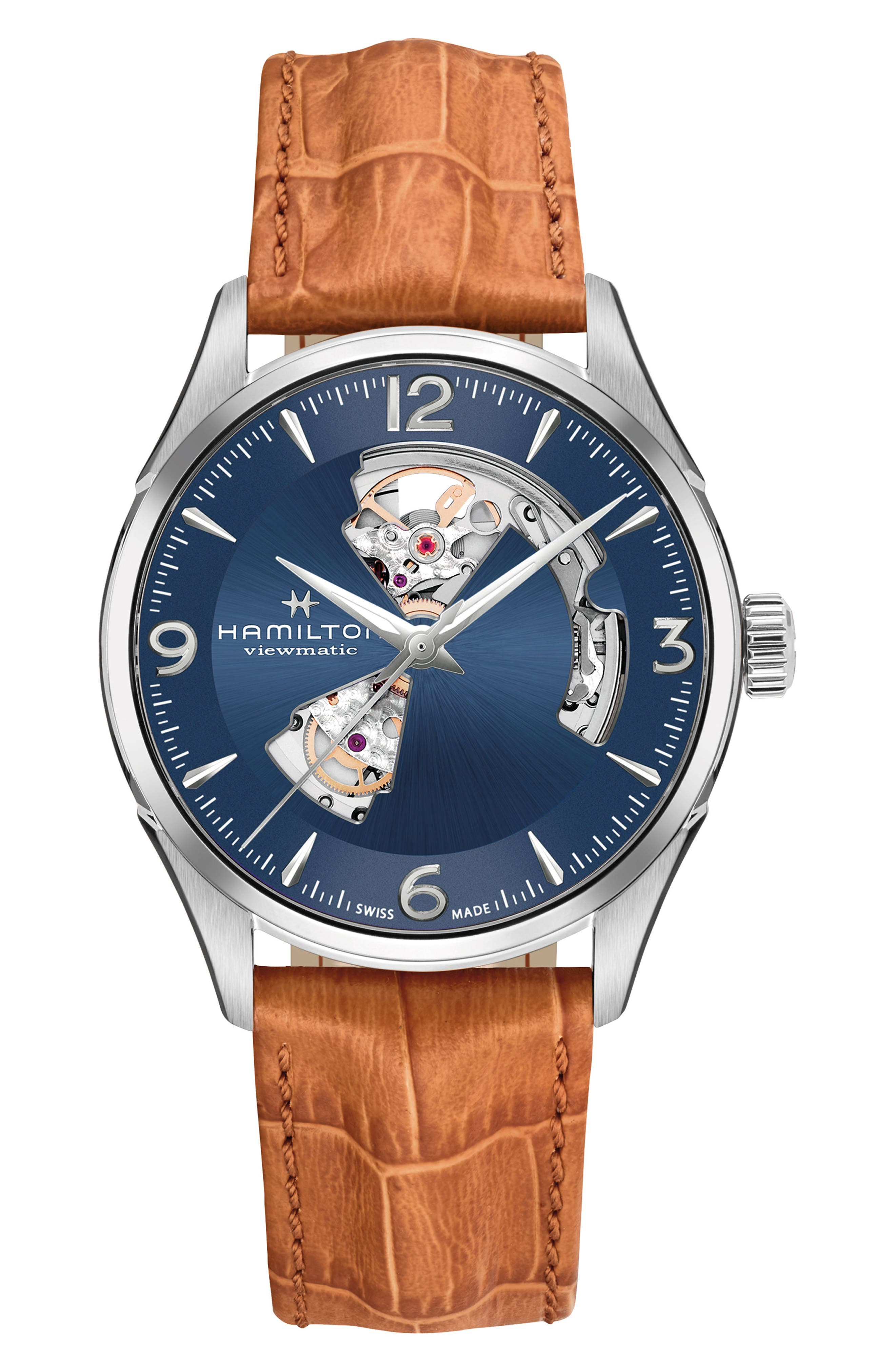Jazzmaster Open Heart Automatic Leather Strap Watch, 42mm,                         Main,                         color, BROWN/ BLUE/ SILVER