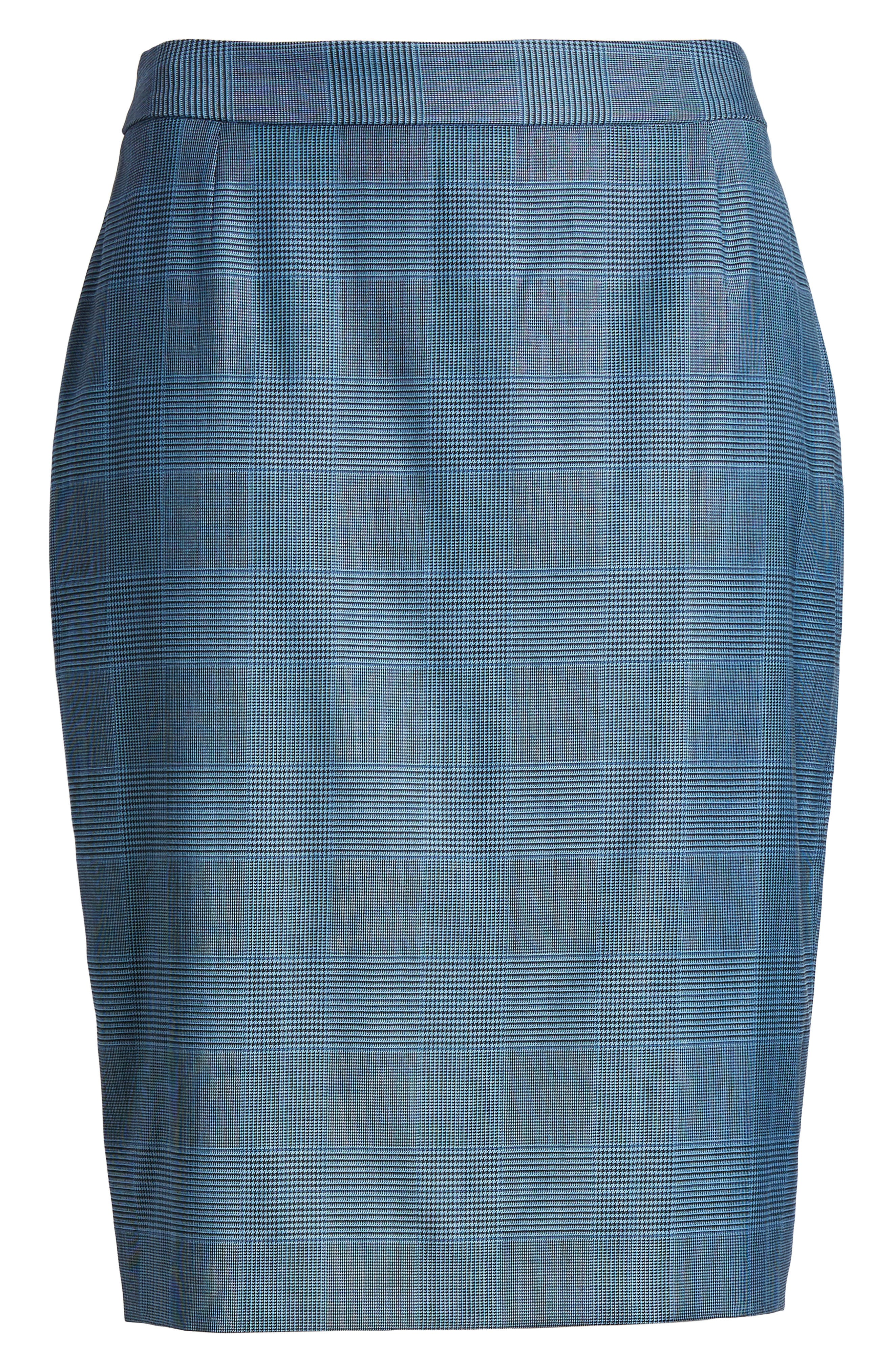 Vimena Glencheck Stretch Wool Pencil Skirt,                             Alternate thumbnail 6, color,