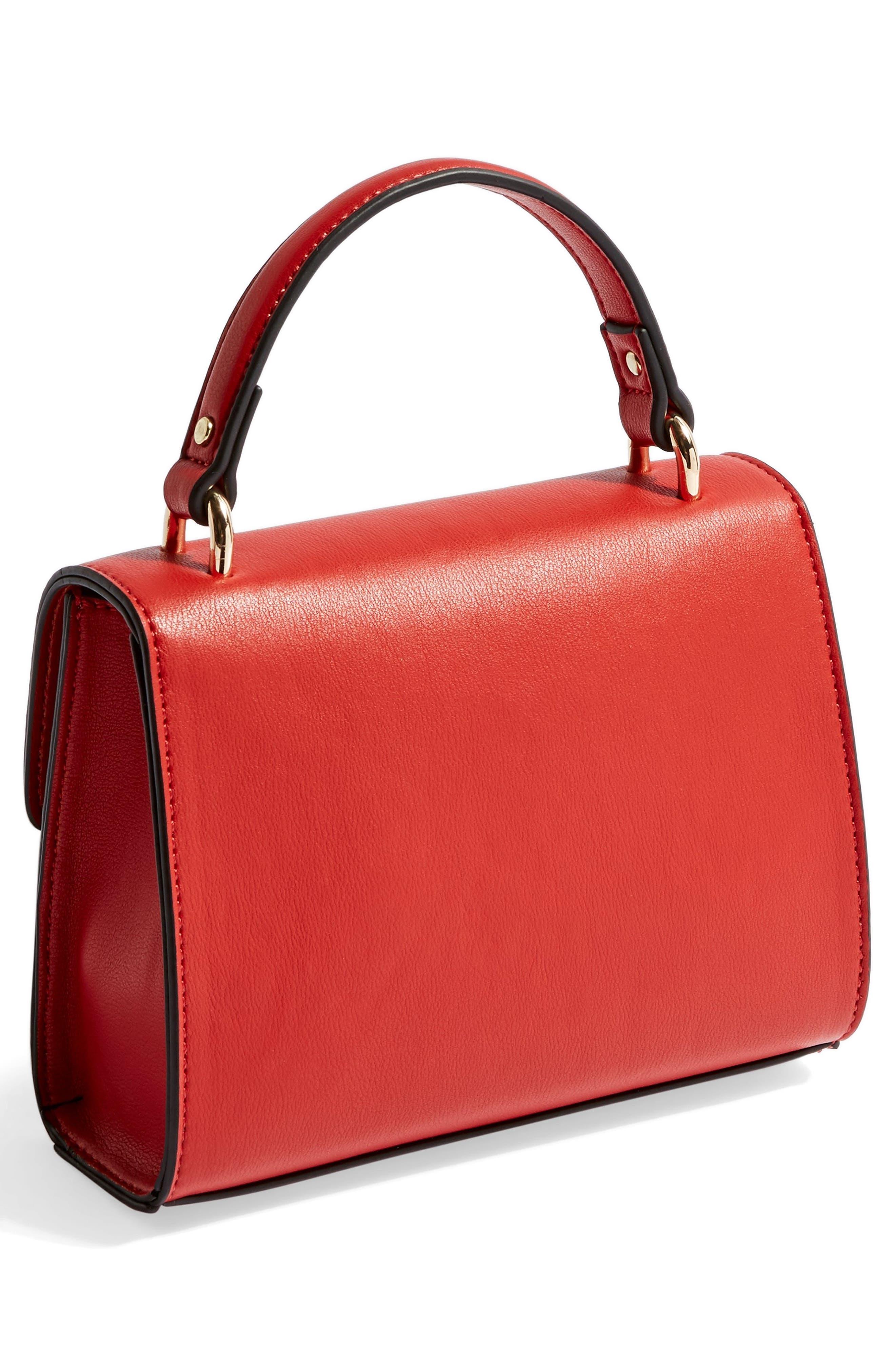 TOPSHOP,                             Mini Marissa Top Handle Bag,                             Alternate thumbnail 3, color,                             RED
