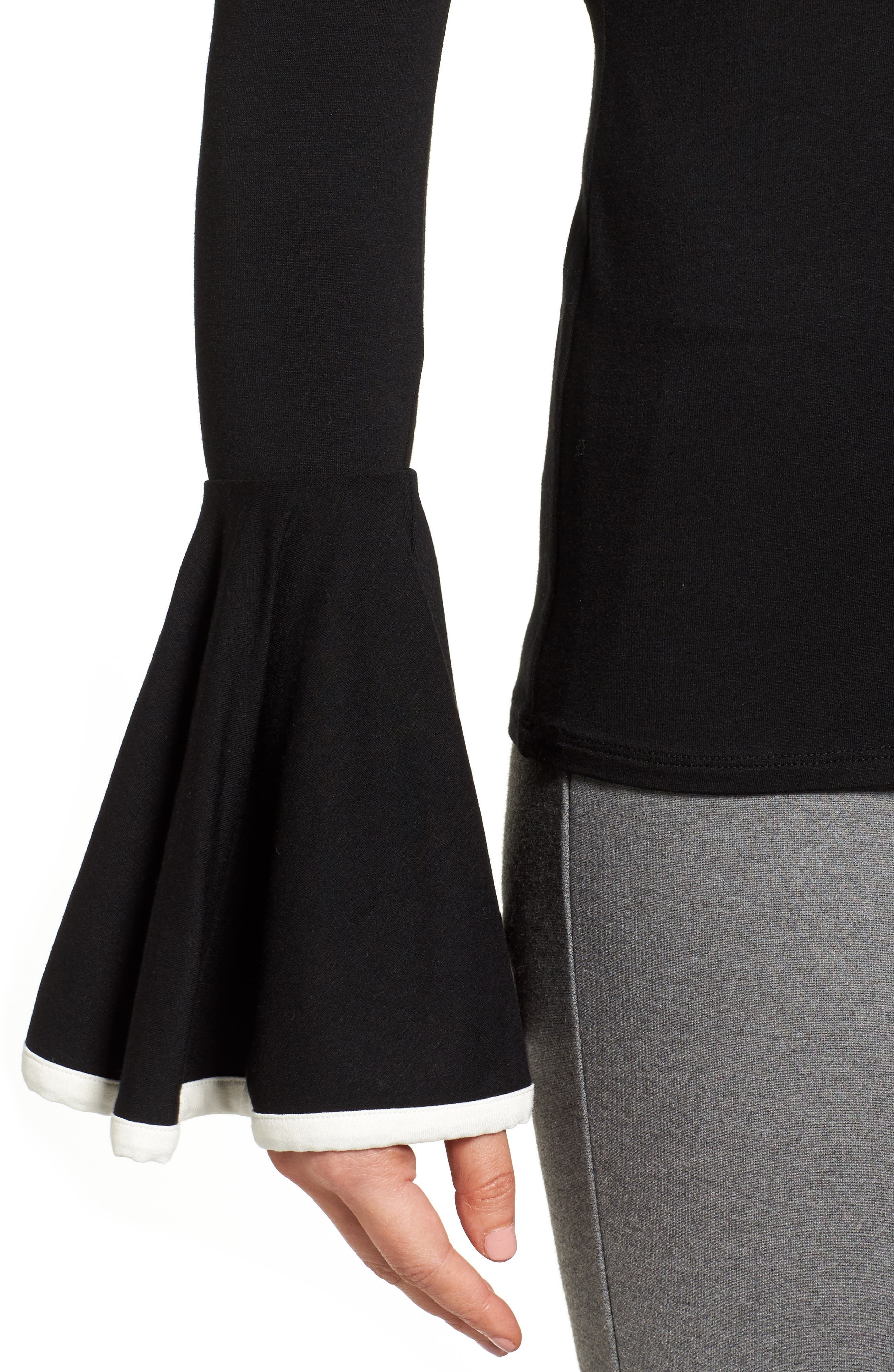 Tipped Bell Sleeve Top,                             Alternate thumbnail 4, color,                             006