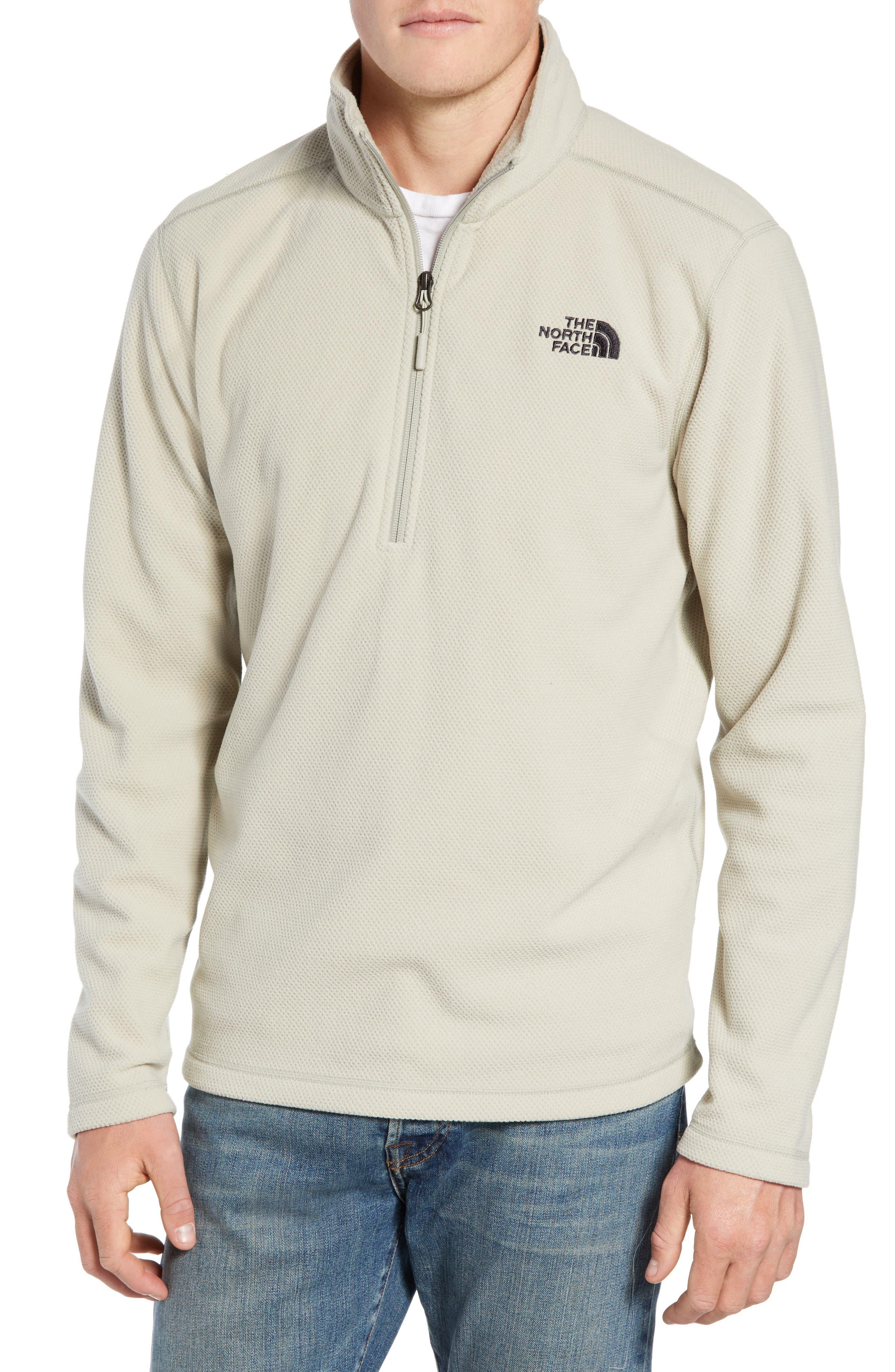 The North Face Texture Cap Rock Quarter Zip Fleece Jacket, Beige