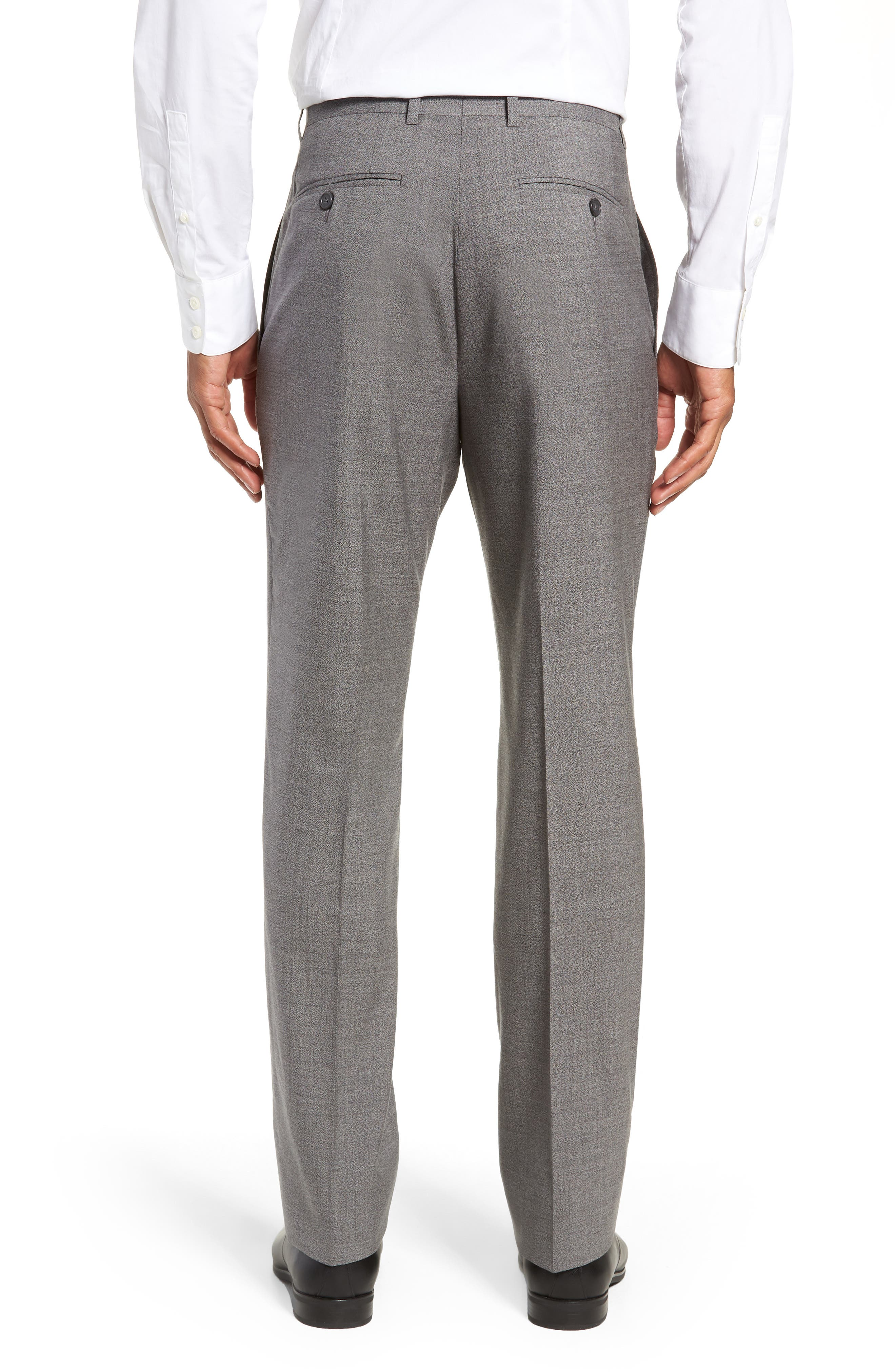 Flat Front Solid Wool Trousers,                             Alternate thumbnail 2, color,                             GREY