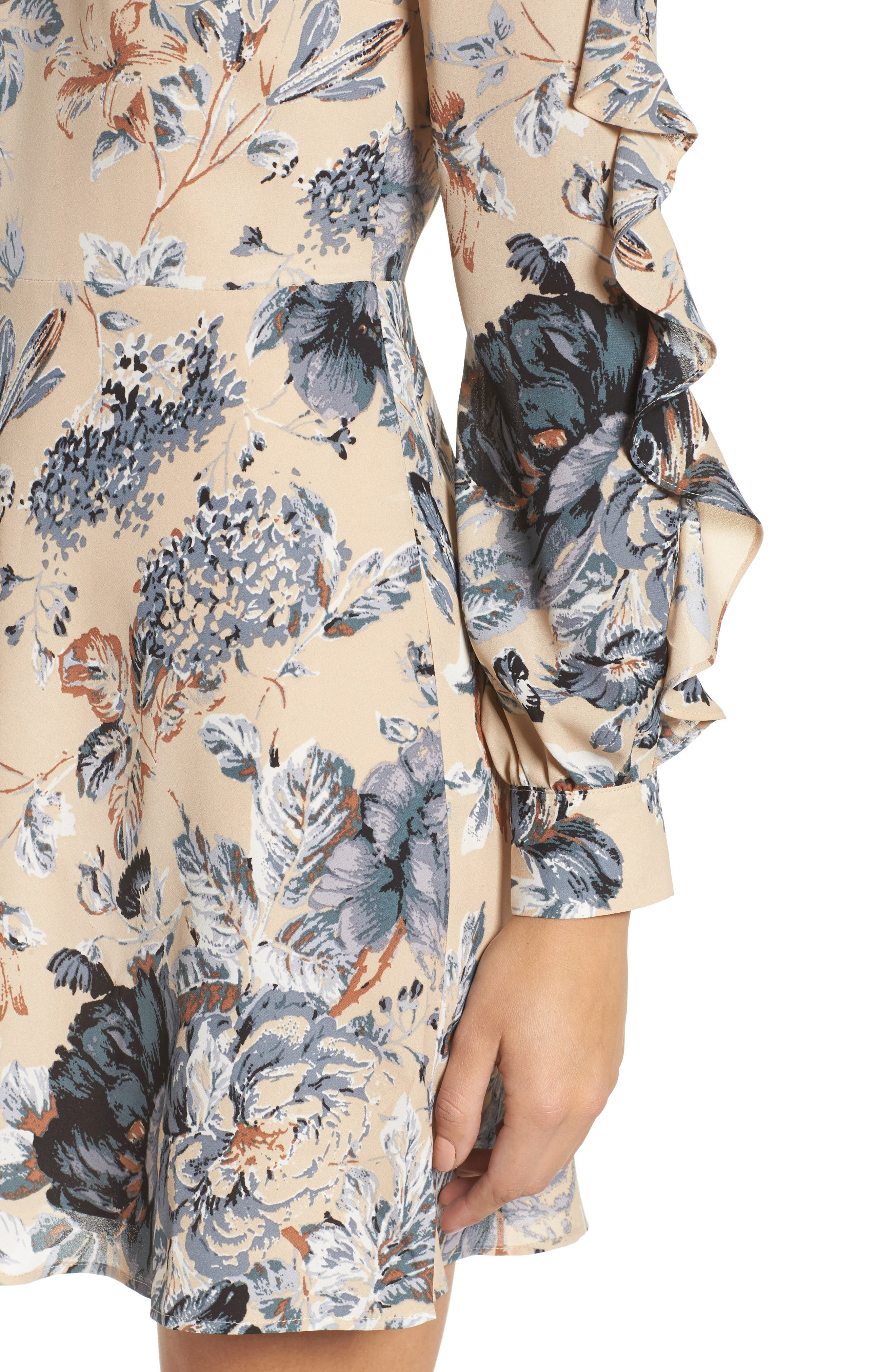 Merci Floral Fit & Flare Dress,                             Alternate thumbnail 4, color,                             264