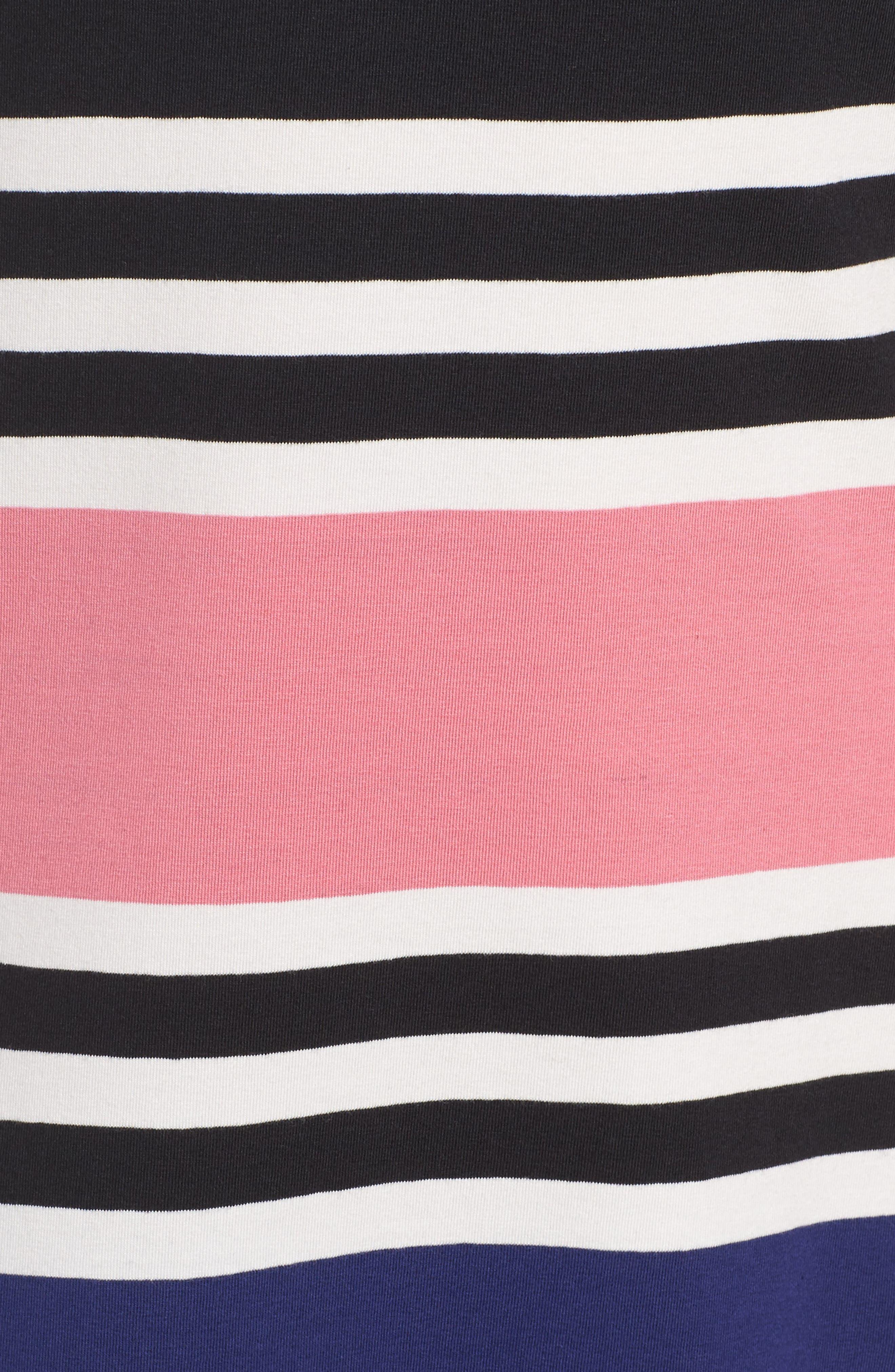 Multi Jag Stripe T-Shirt Dress,                             Alternate thumbnail 5, color,                             471